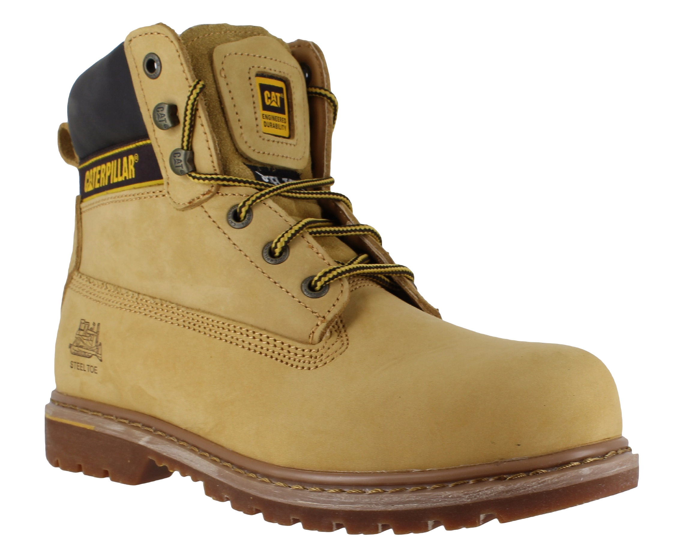 683ac552025de Caterpillar Holton Mens Honey/Yellow SB Safety Steel Toe Cap Lace Up Work  Boots