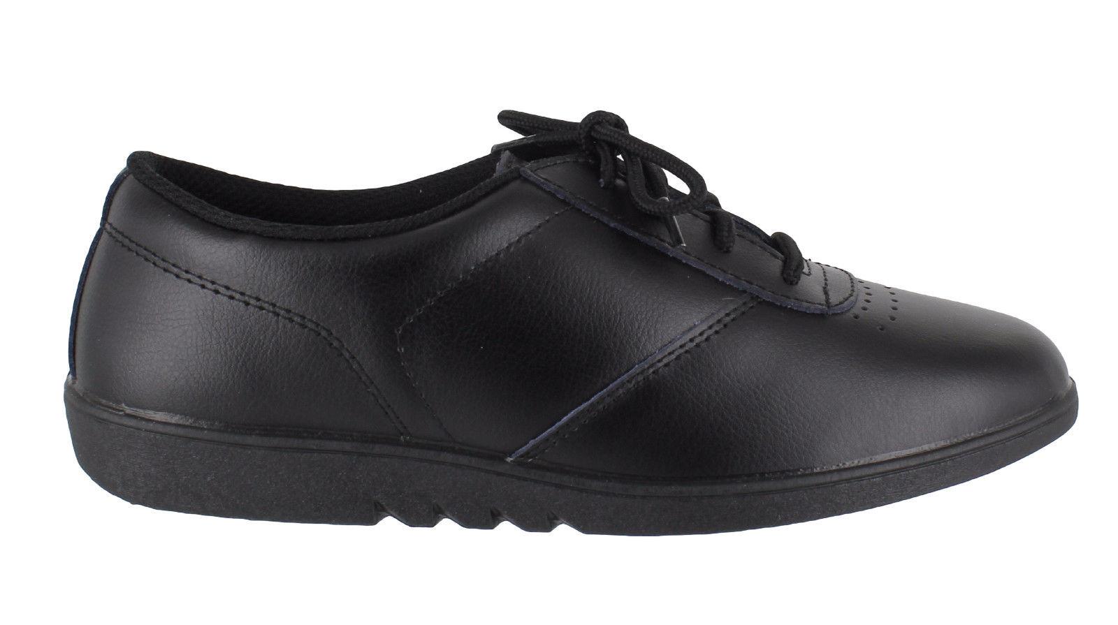 83a91c4de969 Womens Comfort Treble Leather Lace Up Washable Flat Sole Shoes Sizes 3 to 9