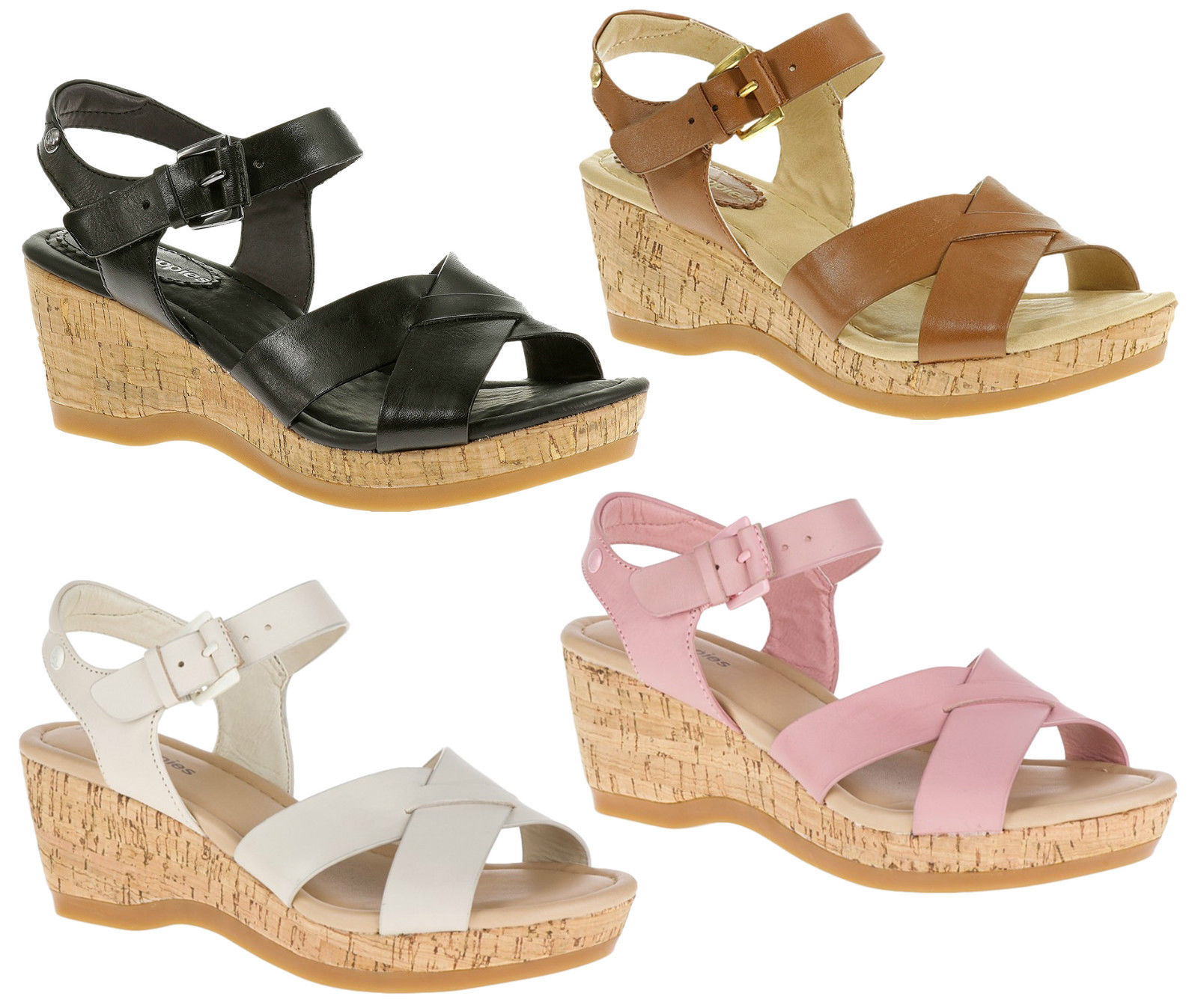 2e13d272084 Womens Hush Puppies Eva Farris Wedge Heel Ankle Strap Sandals Sizes 3 to 9