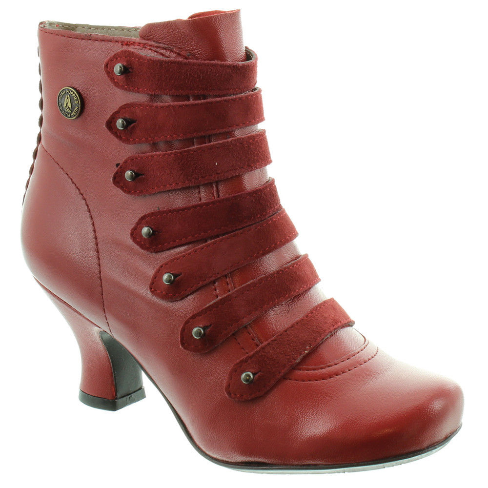 cheap prices best supplier large discount Details about Hush Puppies Tiffin Verona Womens Red Side Zip Up Ankle  Victorian Boots