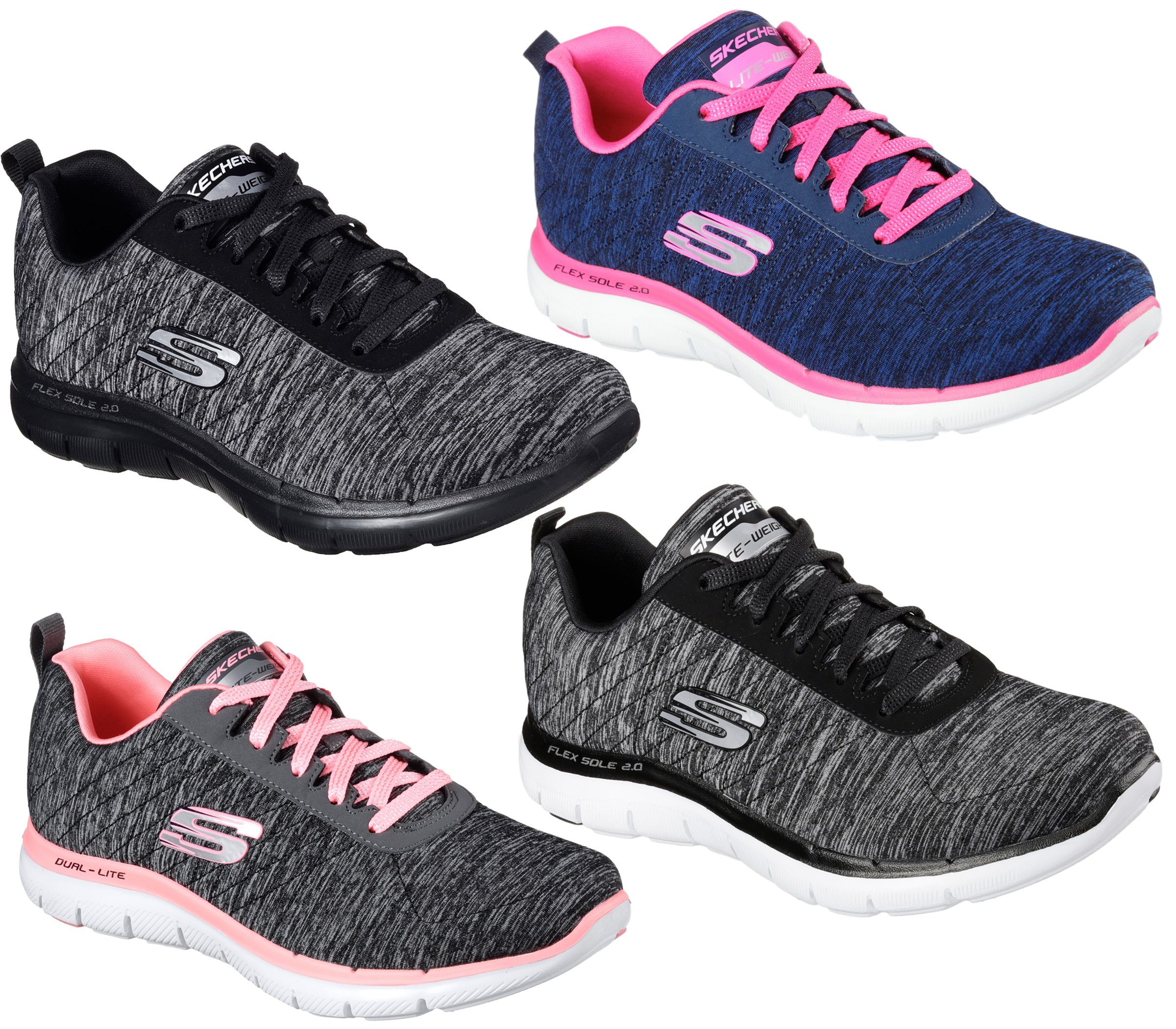 3262ea9bfc0da Womens Skechers Flex Appeal 2.0 Memory Foam Lace Up Sports Trainers Sizes 4  to 8