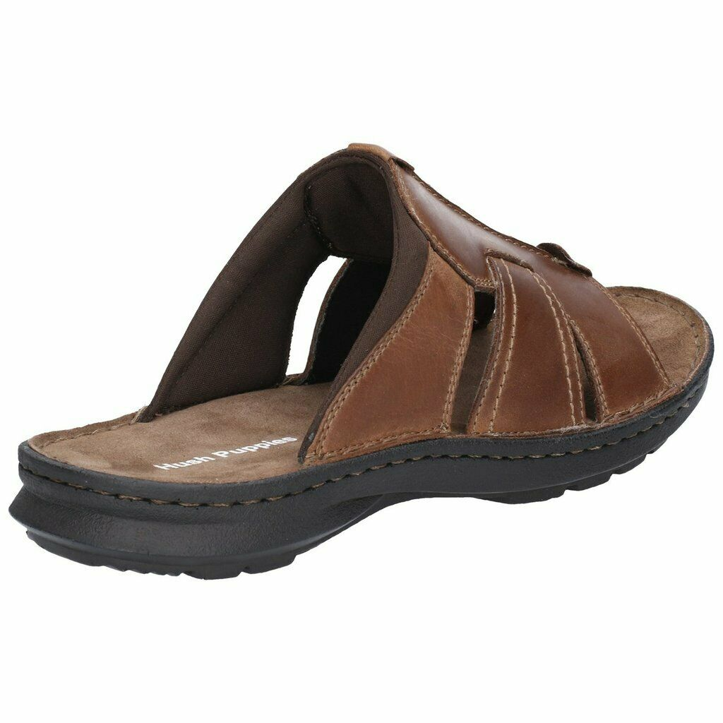 Mens Hush Puppies Sid Slip On Smart Casual Leather Mule Sandals Size 6-12
