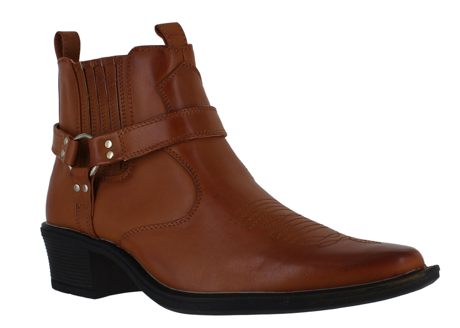 Mens Cowboy Pull On Buckle Western Harness Cuban Heel Ankle Boots Sizes 7 to 12