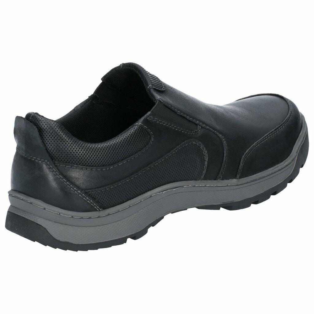 049bf78e20a Hush Puppies Jasper para hombre resbalón ocasional negro en los zapatos de  cuero inteligentes