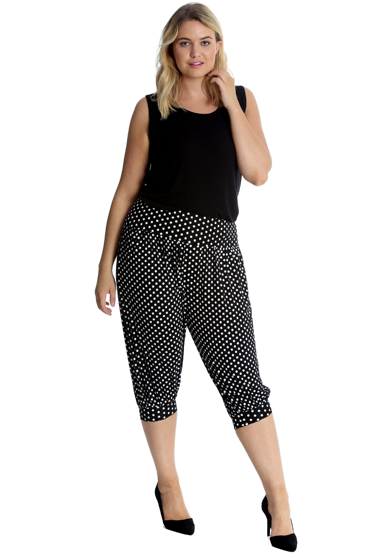 Womens Harem Trouser Plus Size Ladies Leopard Print Cropped Ali Baba Nouvelle