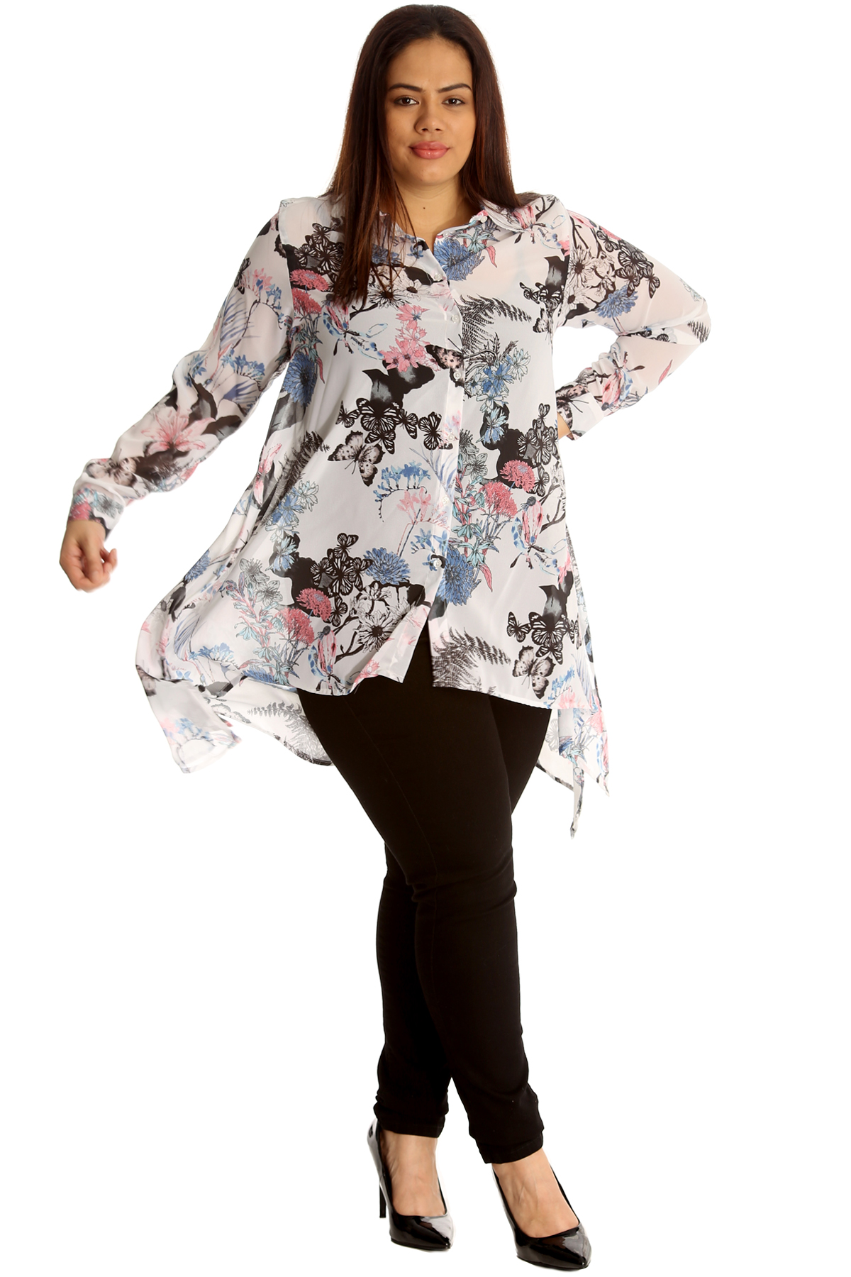 New-Women-Shirt-Plus-Size-Ladies-Butterfly-Floral-Print-Top-Blouse-Chiffon-Style