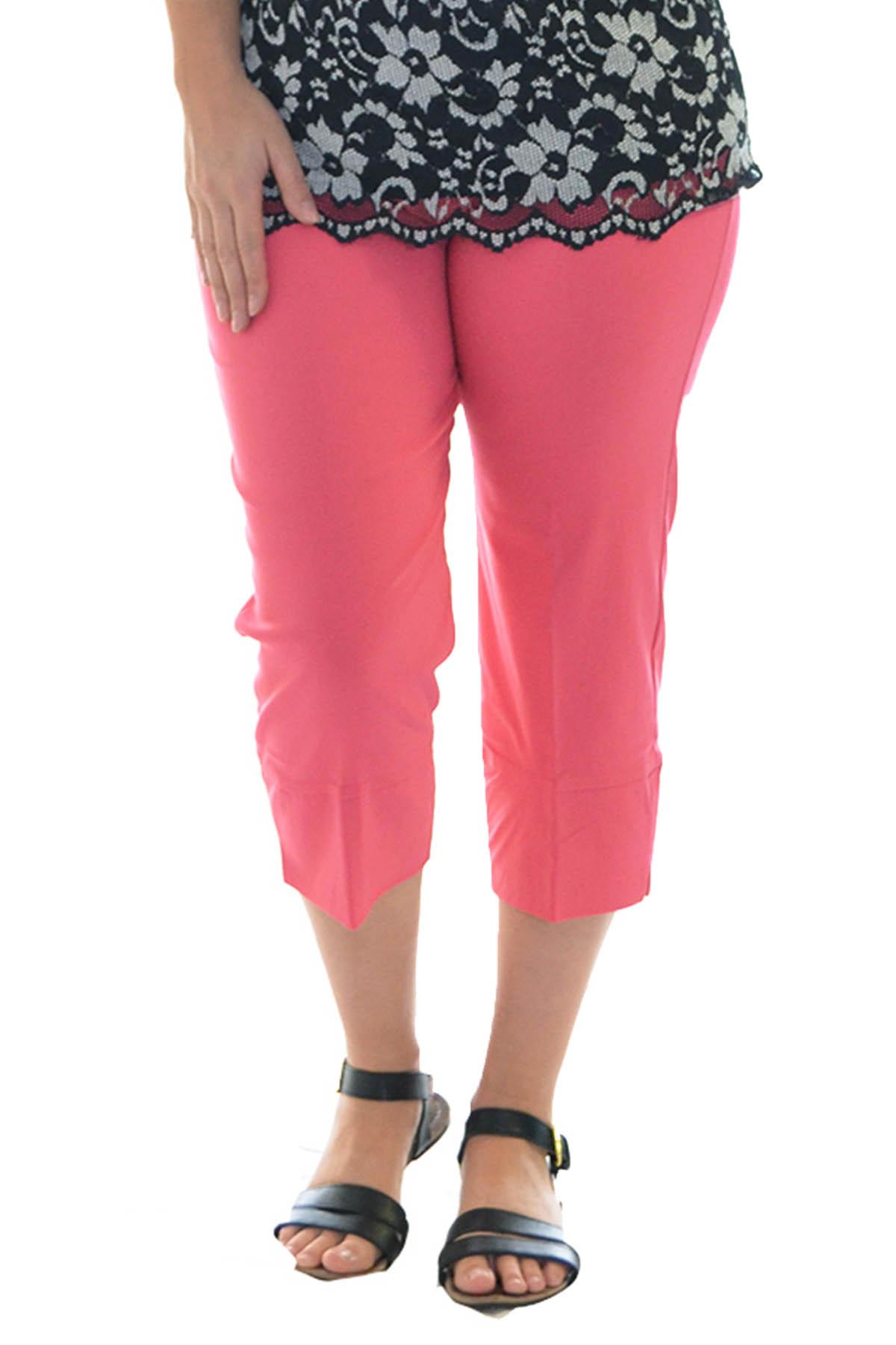 2ad344a6af New Womens Trousers Ladies Plus Size Plain Capri Pants Cropped Stretch  Nouvelle