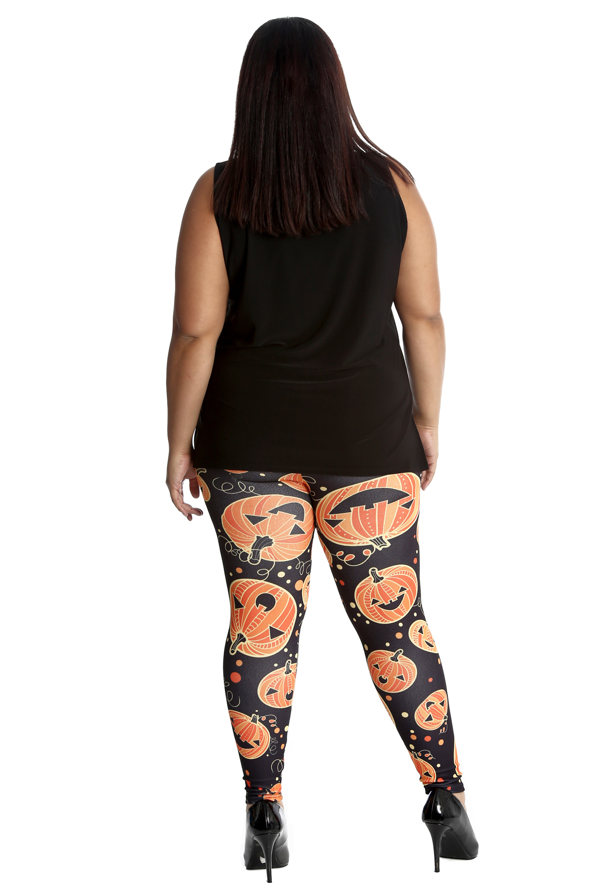 01bfb6518e1 New Ladies Leggings Plus Size Women Halloween Pant Pumpkin Print ...