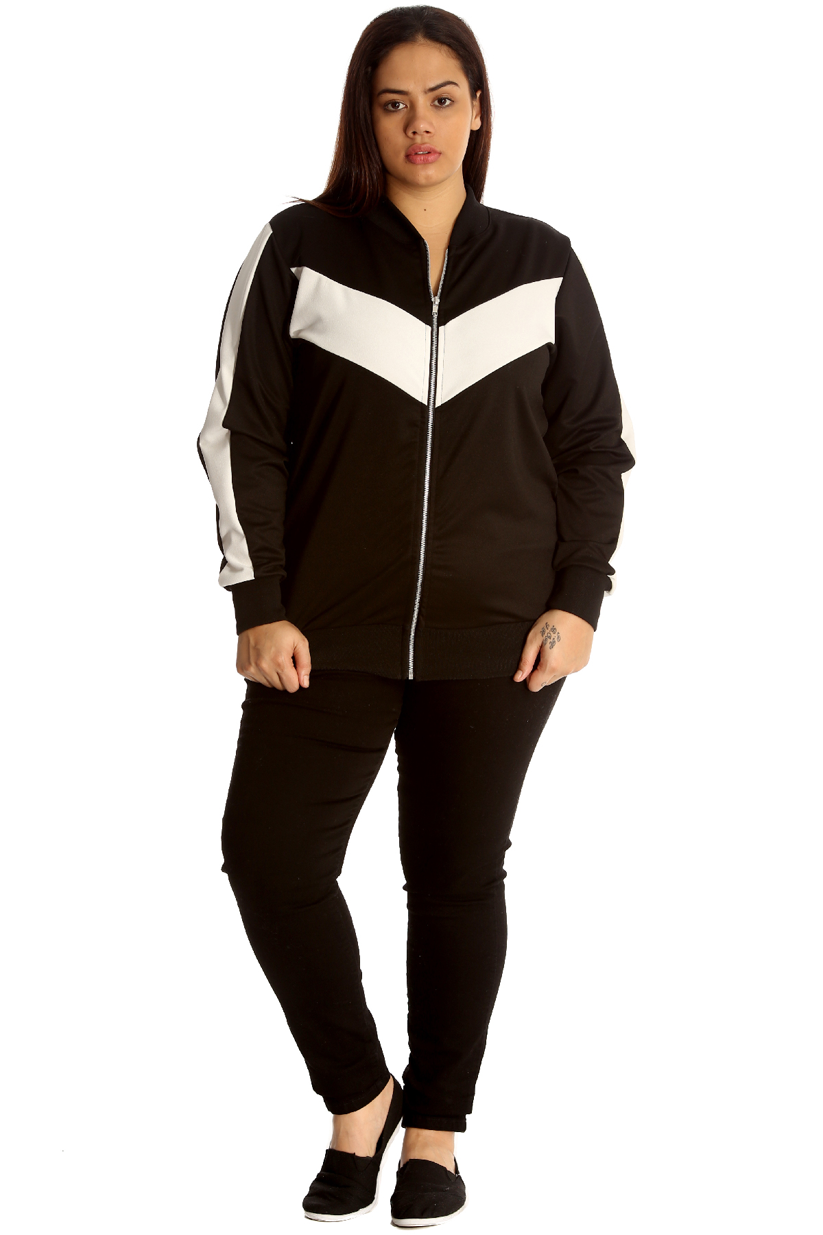 New-Womens-Bomber-Jacket-Plus-Size-Ladies-Tracksuit-Style-Zip-Contrast-Ribbed