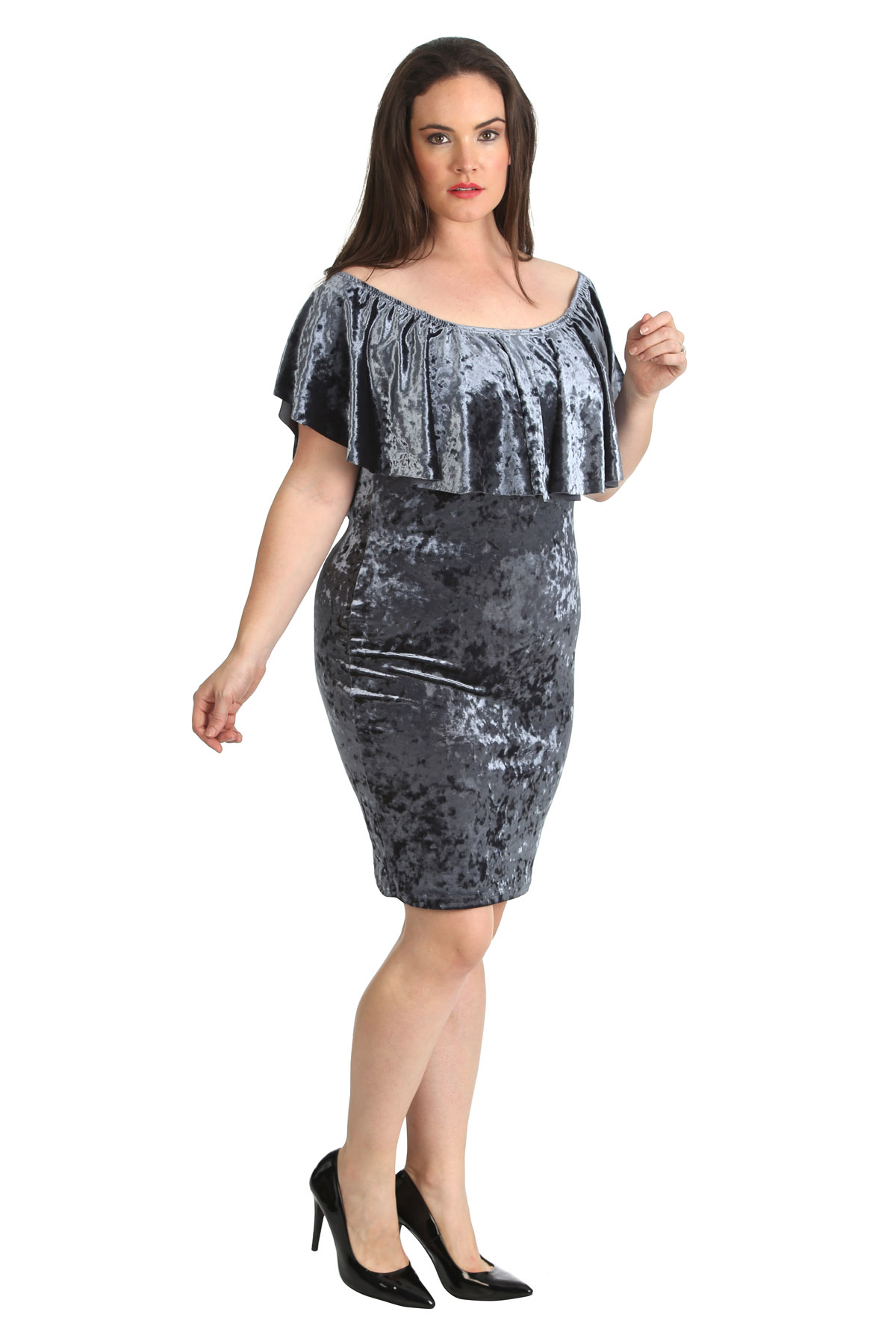 Details about New Ladies Velvet Dress Womens Bodycon Frill Top Pencil Plus  Size Nouvelle