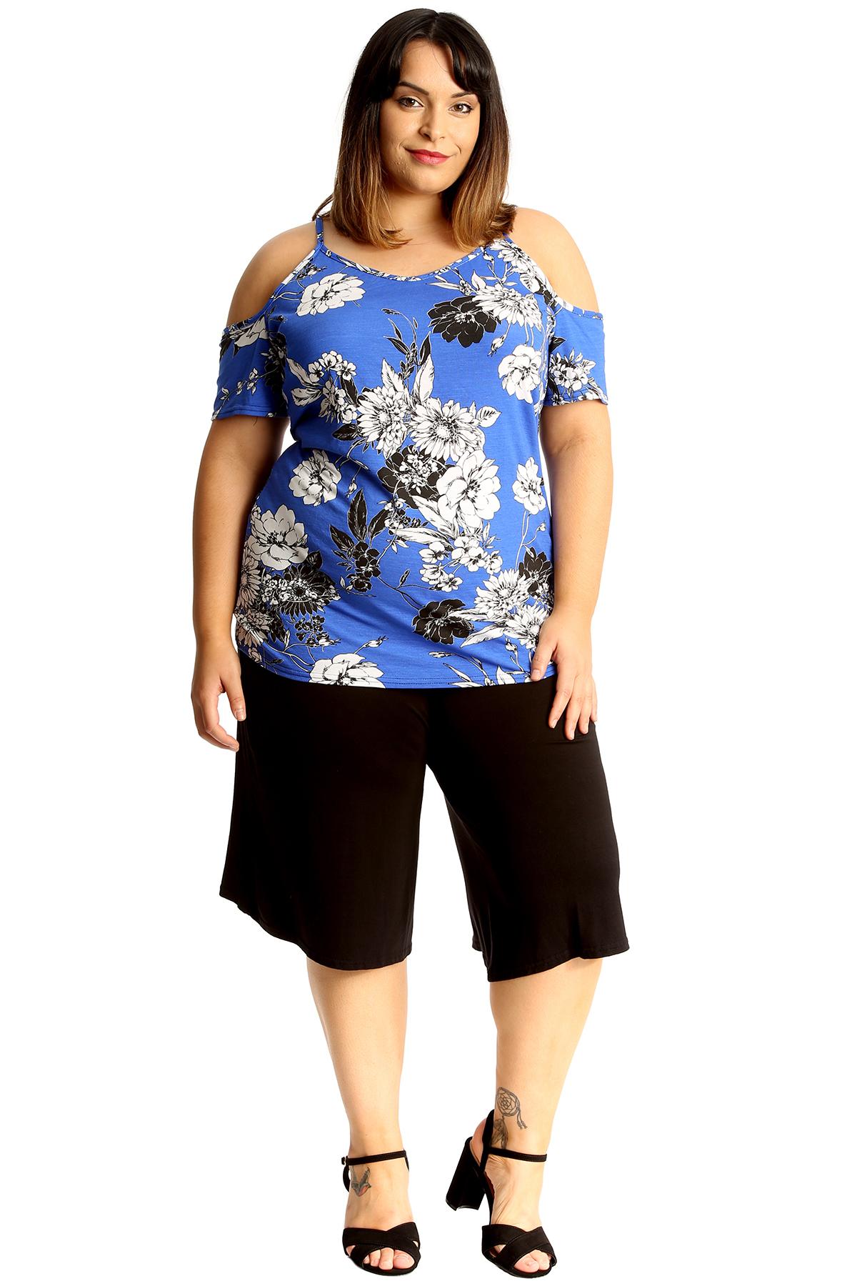 267c377e9afa3d New Womens Top Ladies Floral Print Tunic Cold Shoulder Blouse T ...