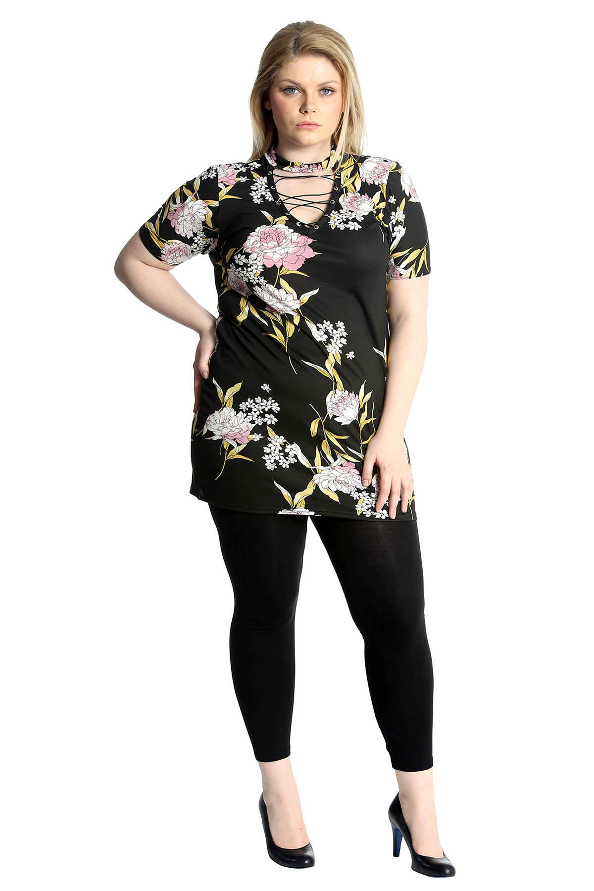 71a5549758a New Womens Floral Plus Size Top Ladies T-Shirt Eyelet Drawstring V ...
