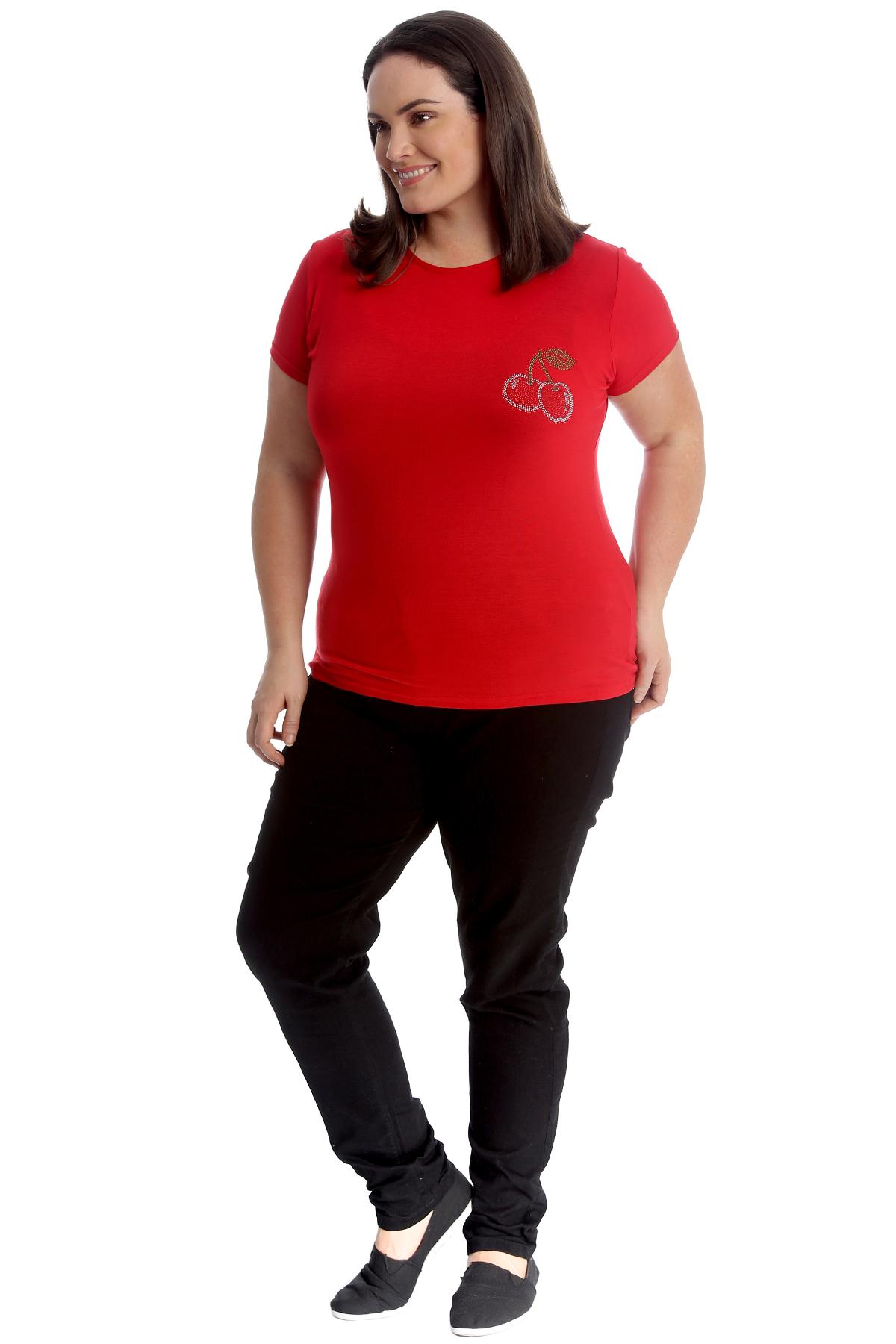 New-Womens-Plus-Size-Top-Ladies-Cherry-Rhinestone-T-Shirt-Soft-Stud-Shiny-Hip thumbnail 13