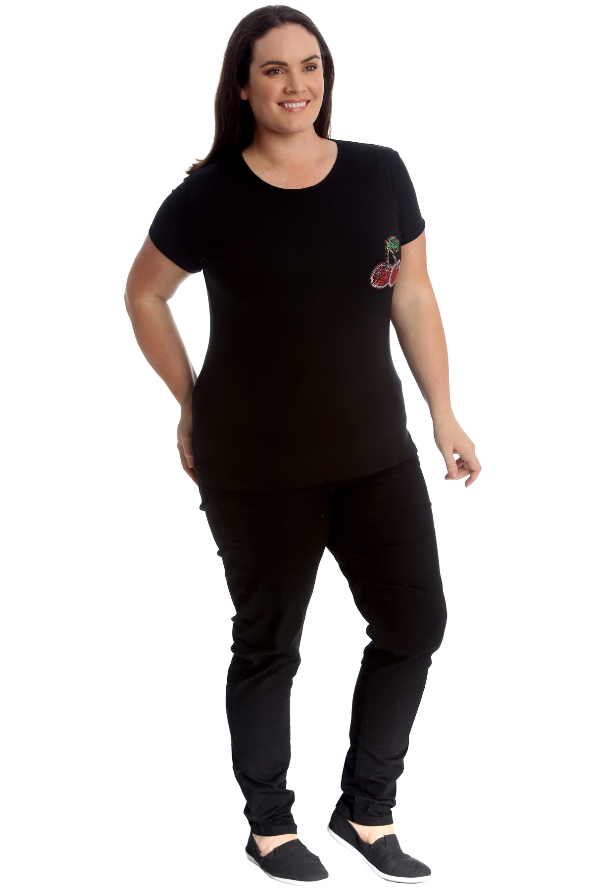 New-Womens-Plus-Size-Top-Ladies-Cherry-Rhinestone-T-Shirt-Soft-Stud-Shiny-Hip thumbnail 8