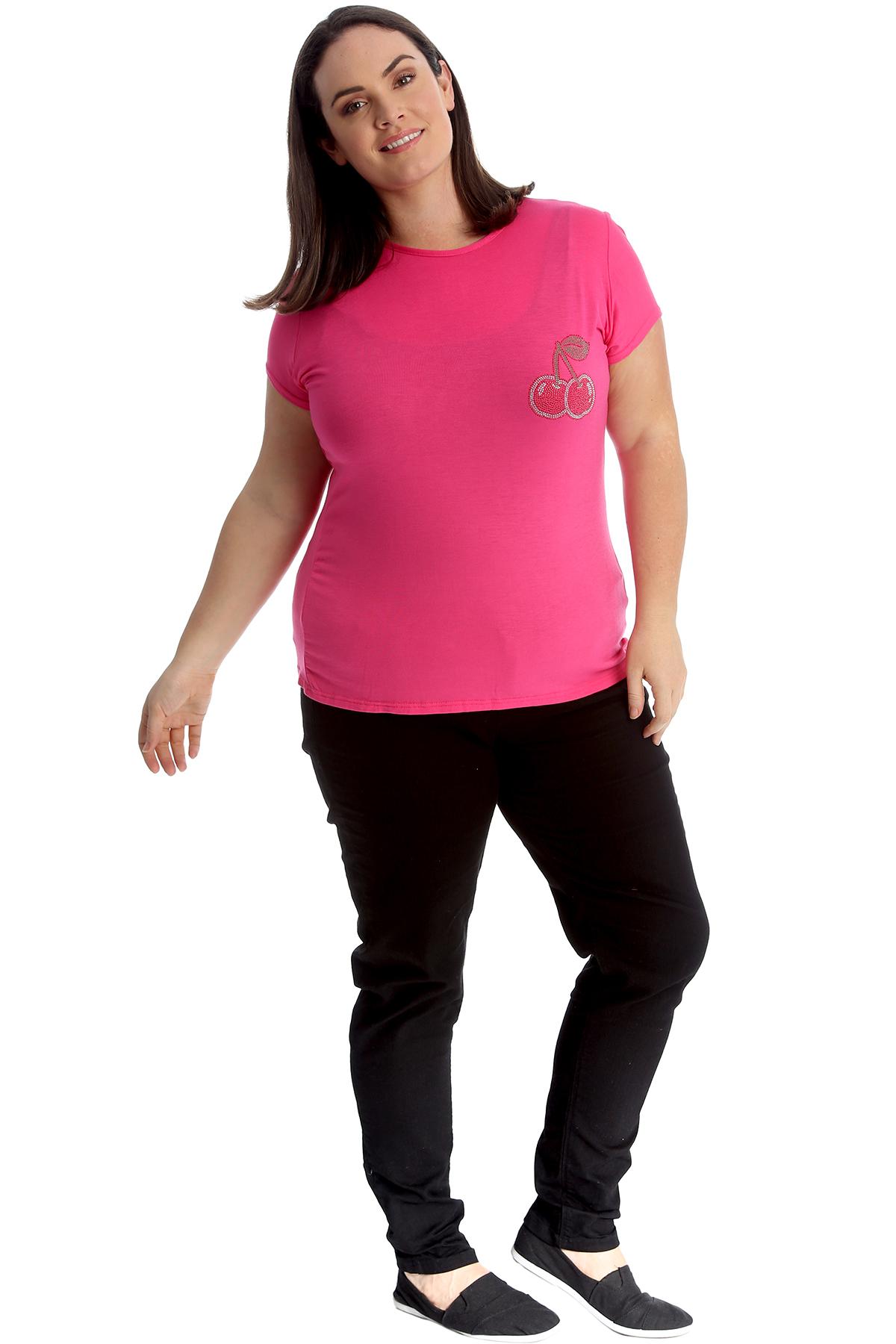 New-Womens-Plus-Size-Top-Ladies-Cherry-Rhinestone-T-Shirt-Soft-Stud-Shiny-Hip thumbnail 21