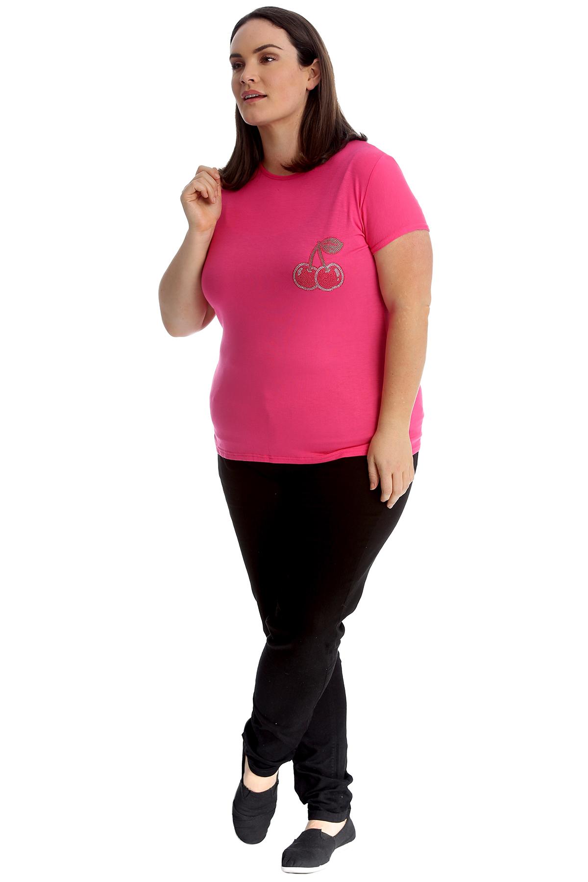 New-Womens-Plus-Size-Top-Ladies-Cherry-Rhinestone-T-Shirt-Soft-Stud-Shiny-Hip thumbnail 20