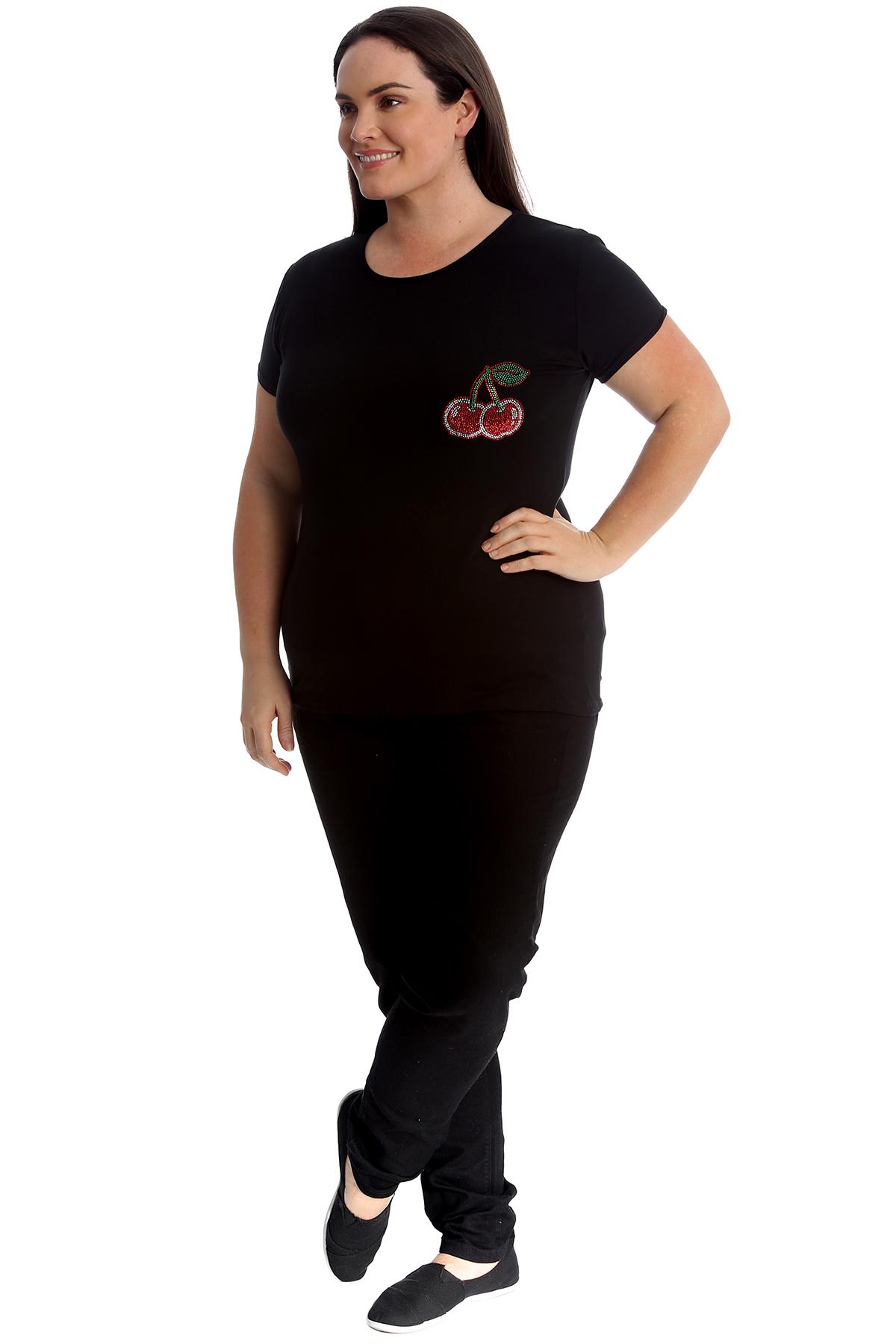 New-Womens-Plus-Size-Top-Ladies-Cherry-Rhinestone-T-Shirt-Soft-Stud-Shiny-Hip thumbnail 9