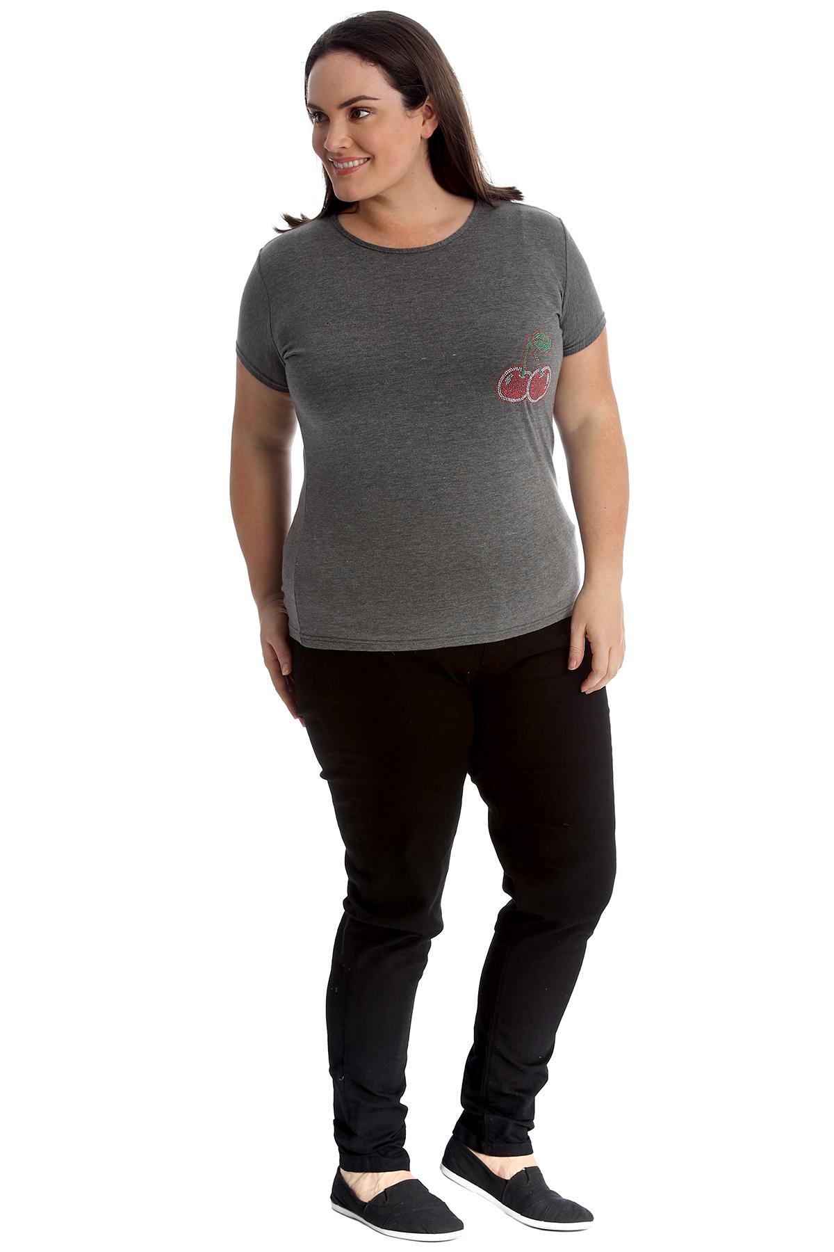 New-Womens-Plus-Size-Top-Ladies-Cherry-Rhinestone-T-Shirt-Soft-Stud-Shiny-Hip thumbnail 24