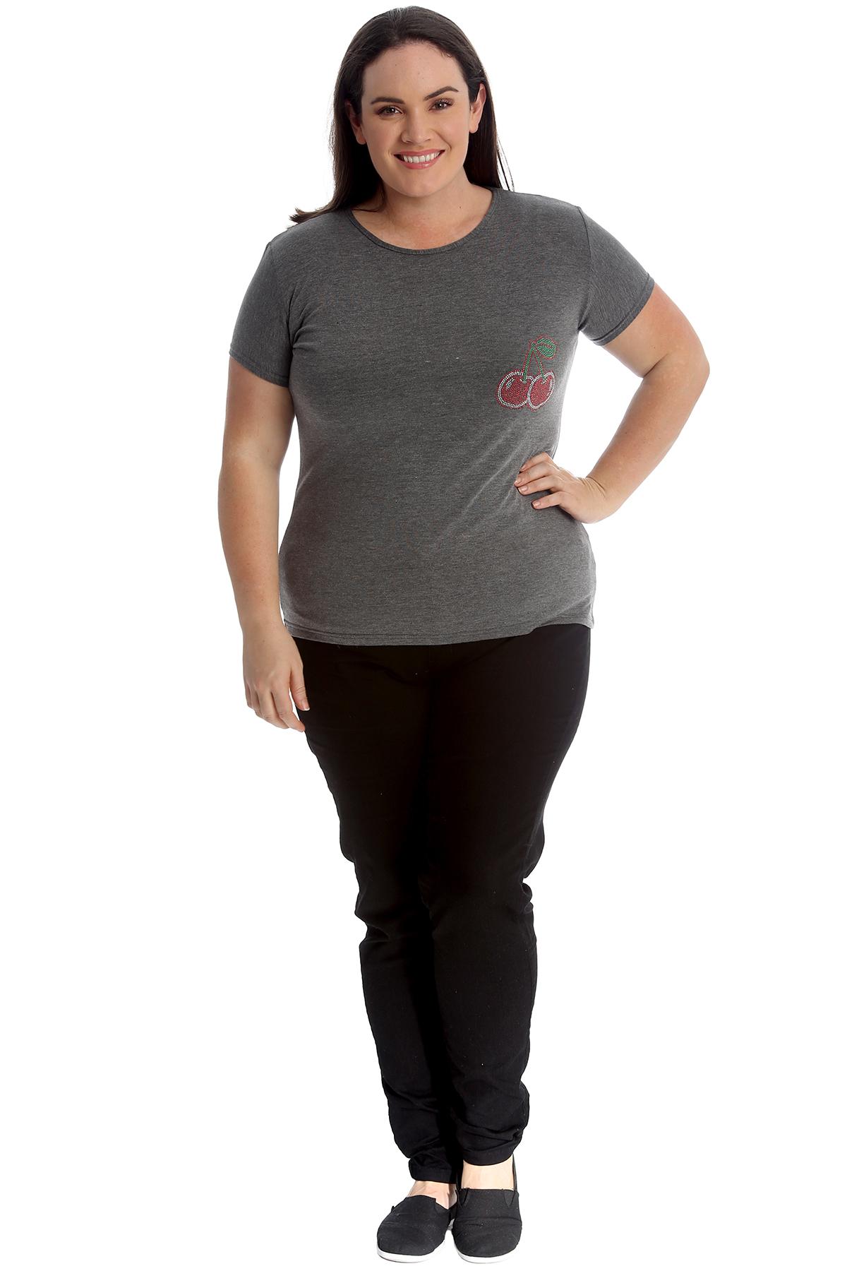 New-Womens-Plus-Size-Top-Ladies-Cherry-Rhinestone-T-Shirt-Soft-Stud-Shiny-Hip thumbnail 25