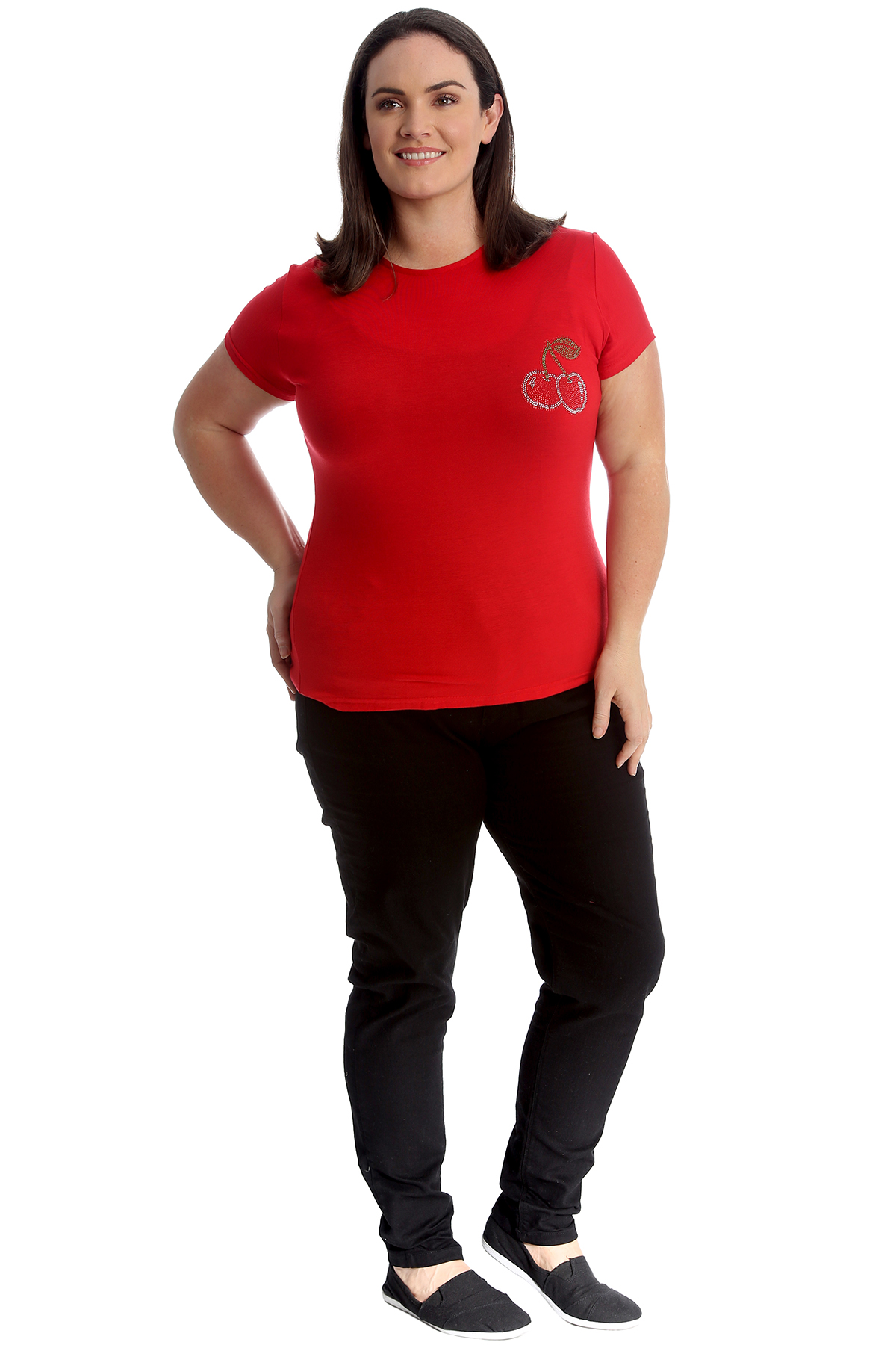 New-Womens-Plus-Size-Top-Ladies-Cherry-Rhinestone-T-Shirt-Soft-Stud-Shiny-Hip thumbnail 12