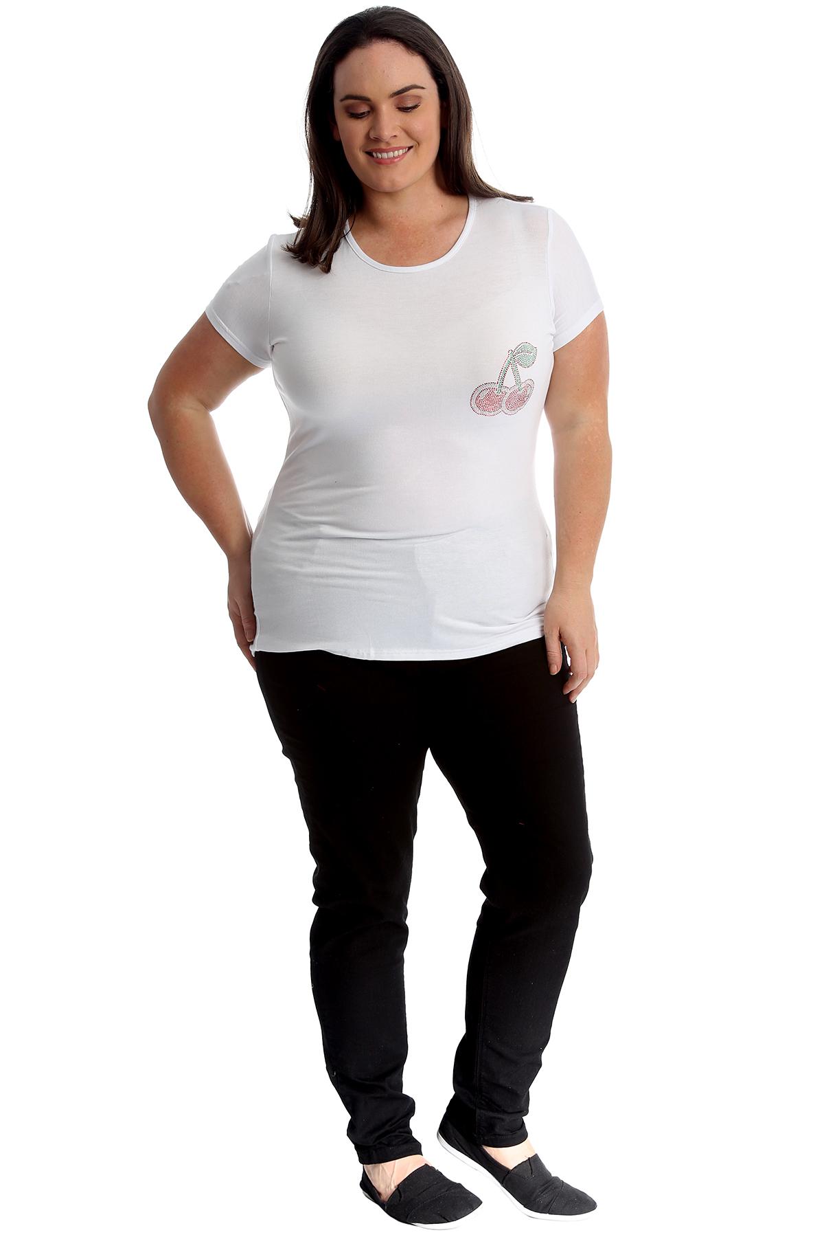 New-Womens-Plus-Size-Top-Ladies-Cherry-Rhinestone-T-Shirt-Soft-Stud-Shiny-Hip thumbnail 17