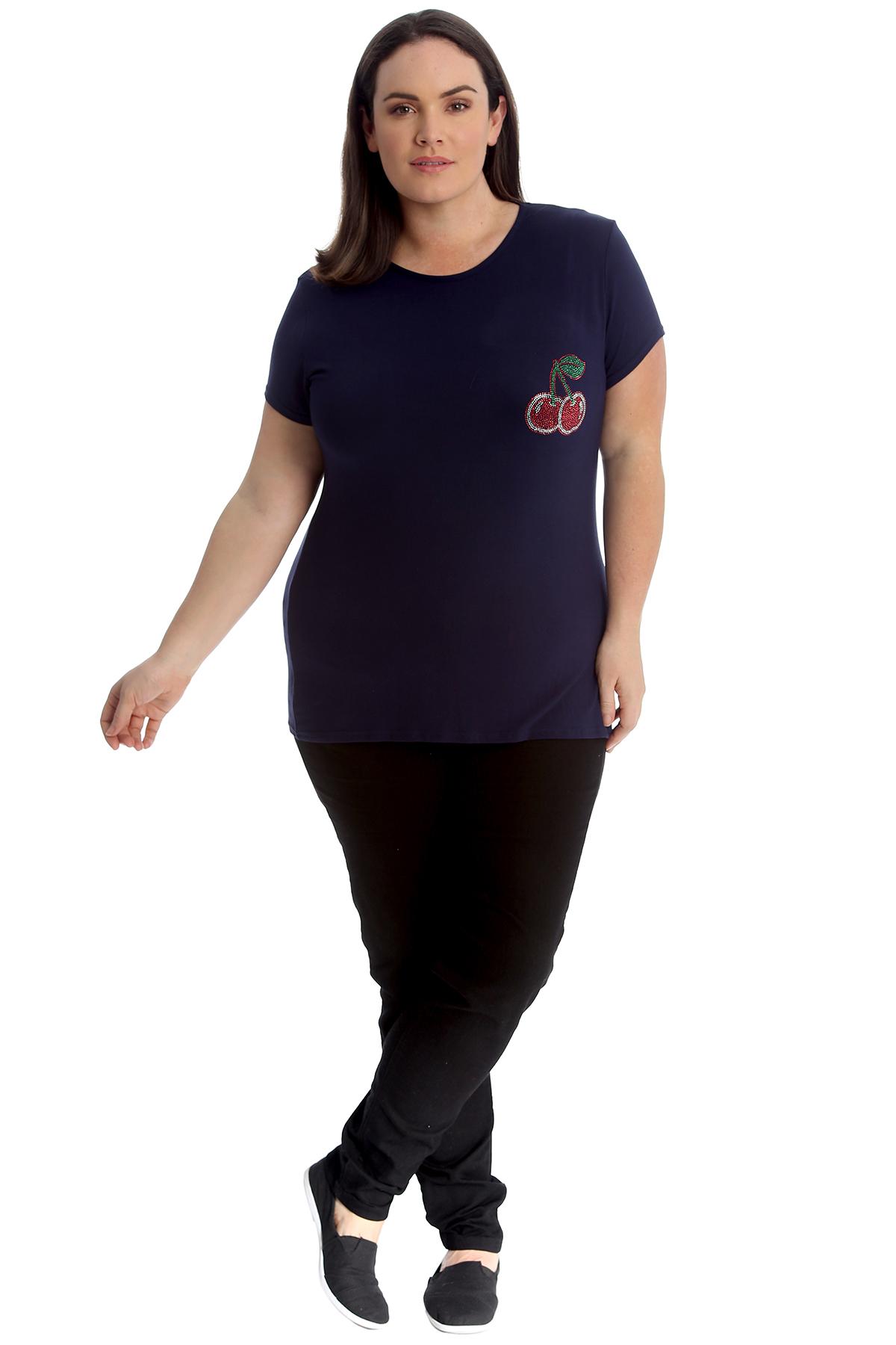 New-Womens-Plus-Size-Top-Ladies-Cherry-Rhinestone-T-Shirt-Soft-Stud-Shiny-Hip thumbnail 32