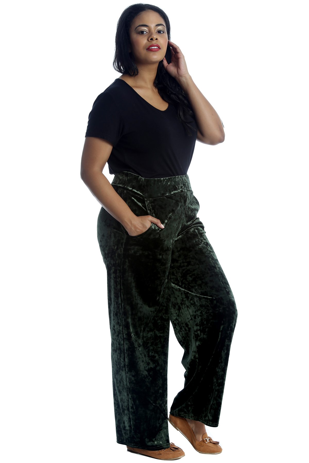 Womens Plus Size Trousers Ladies Velvet Pants Long Side Pockets Plazo