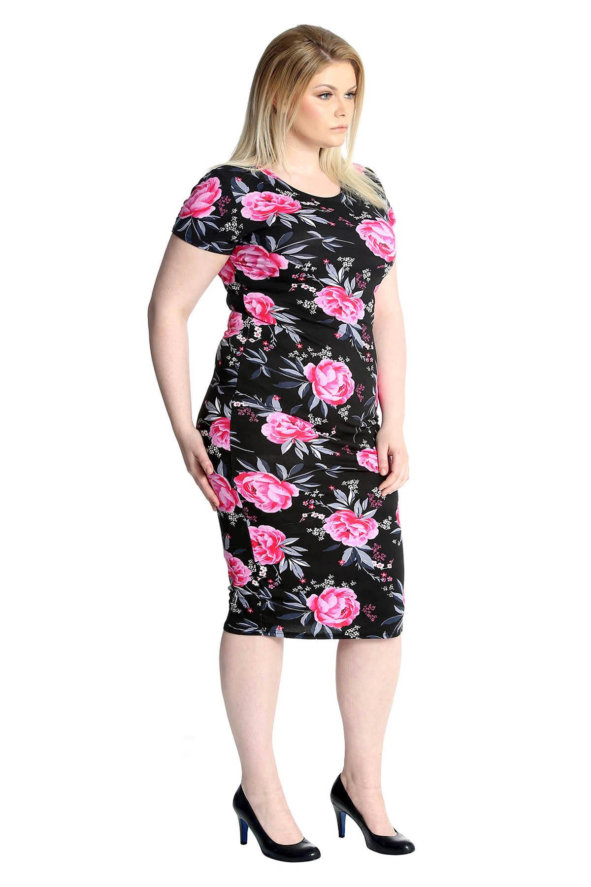 New Womens Plus Size Dress Ladies Bodycon Midi Floral Print Tunic Soft Nouvelle
