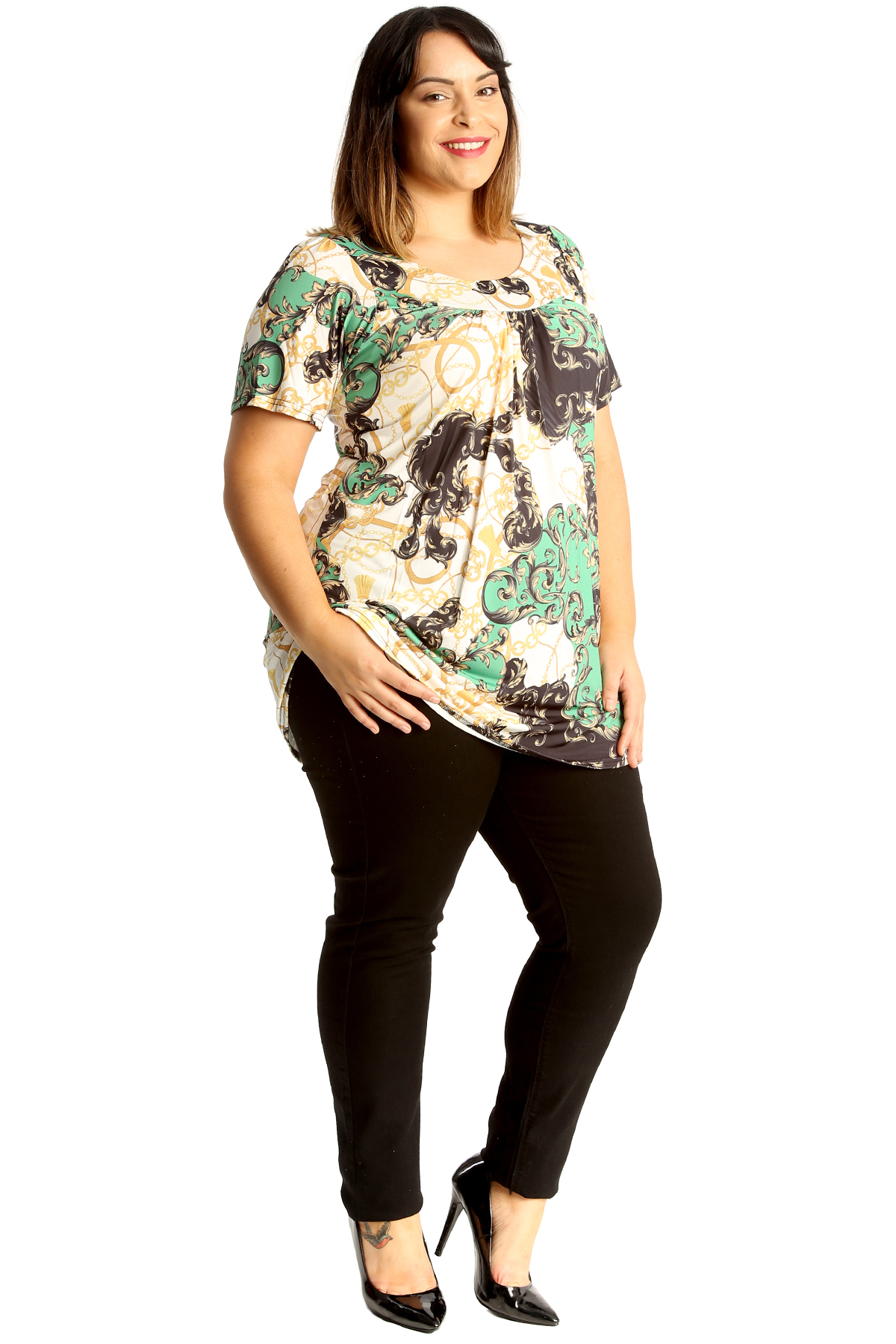 New Womens Plus Size Top Ladies Floral Fruit Print Smock Top Tunic Blouse Pleat