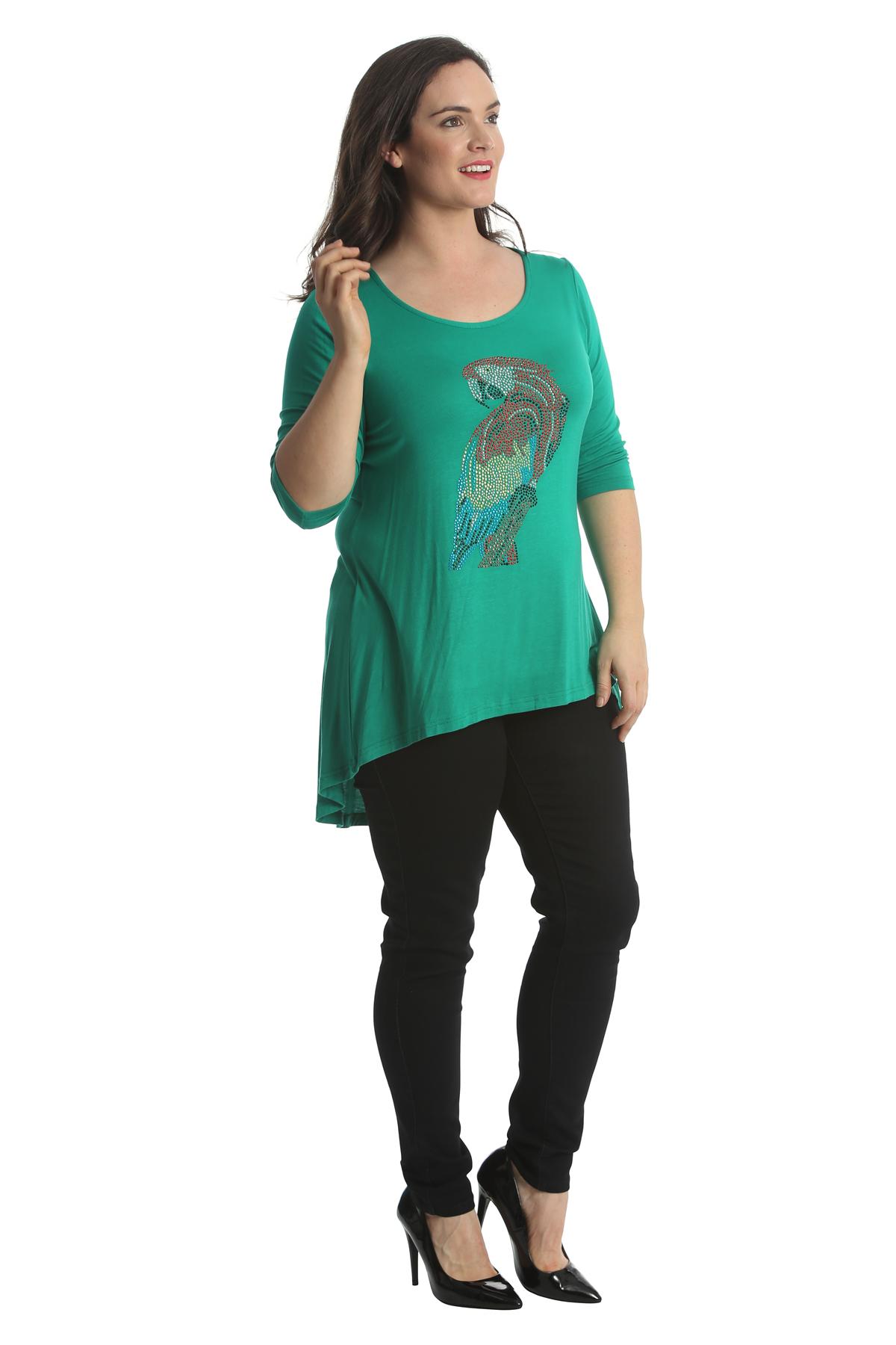 da86de1cf6d New Womens Tops Plus Size Ladies Parrot Rhinestones Bird Stud Shirt ...