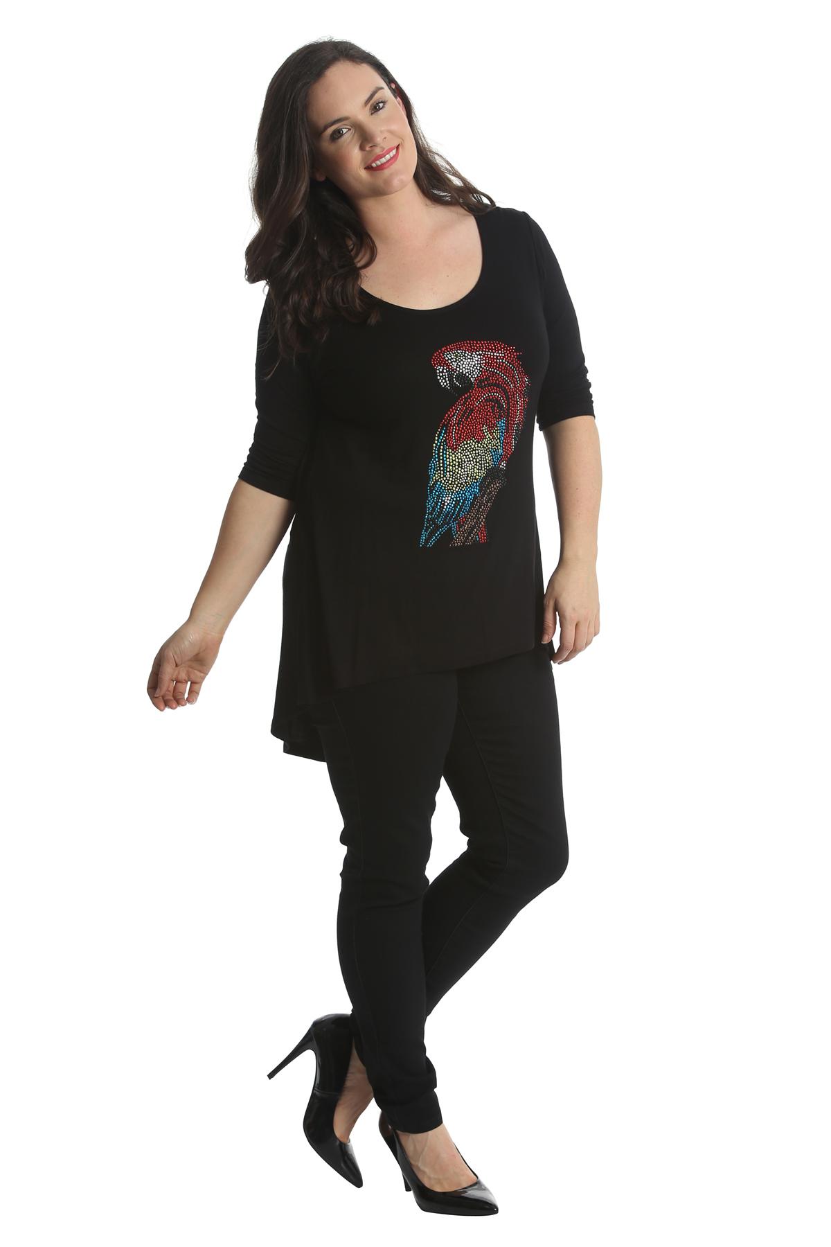 New Ladies Tops Womens Plus Size Parrot Rhinestones Bird Stud Shirt Nouvelle