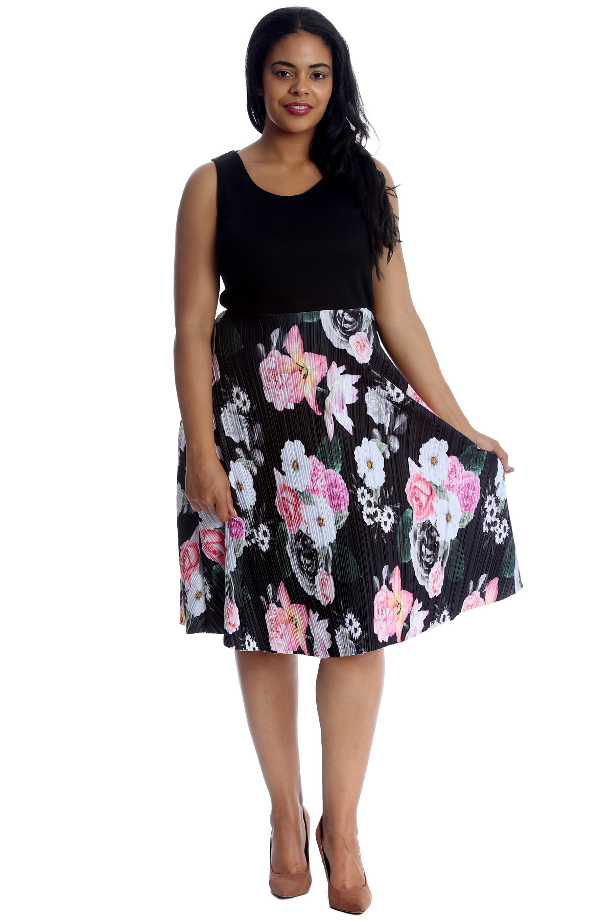 6584868d9baa New Womens Dress Plus Size Ladies Floral Print Skater Style Long ...