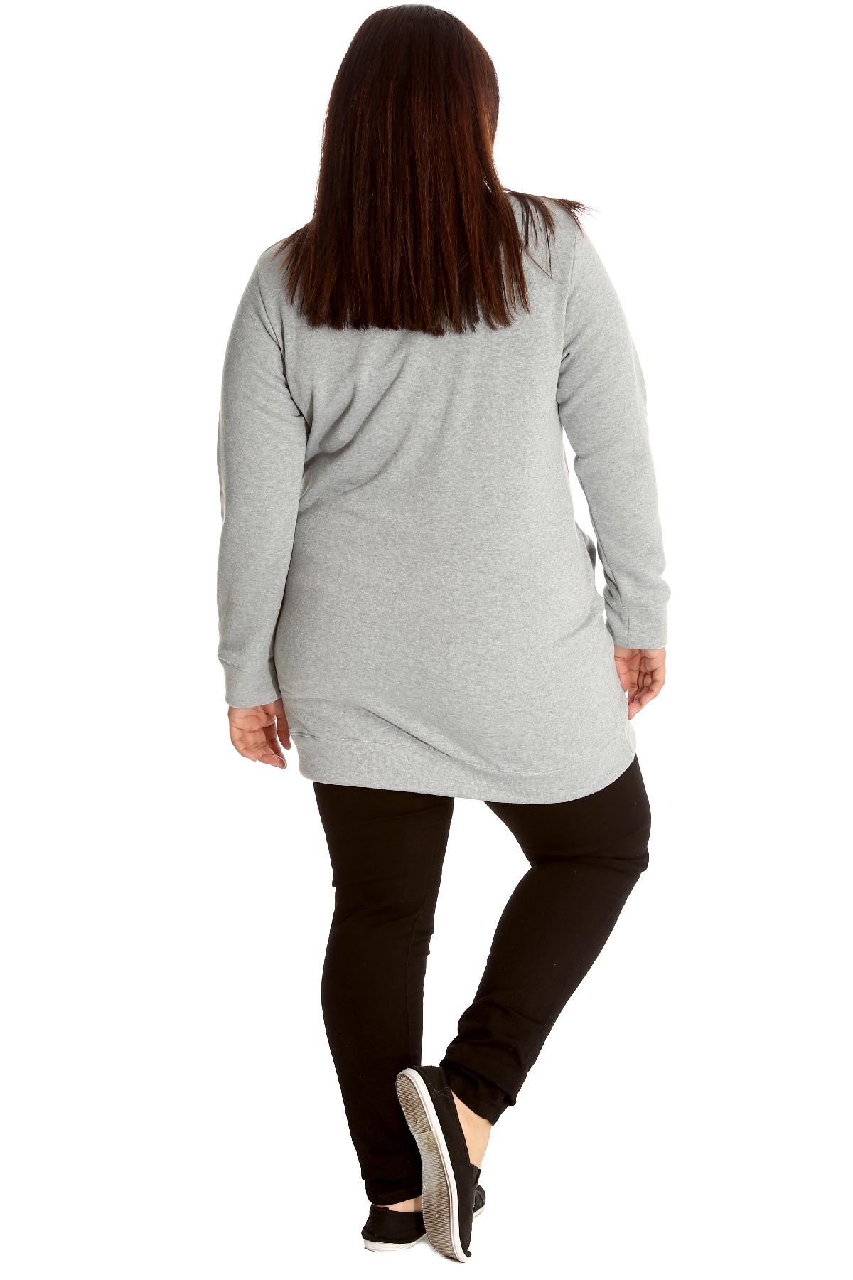 neue frau bergr e sweatshirt damen lang strickjacke stil top seitentasche warm ebay. Black Bedroom Furniture Sets. Home Design Ideas