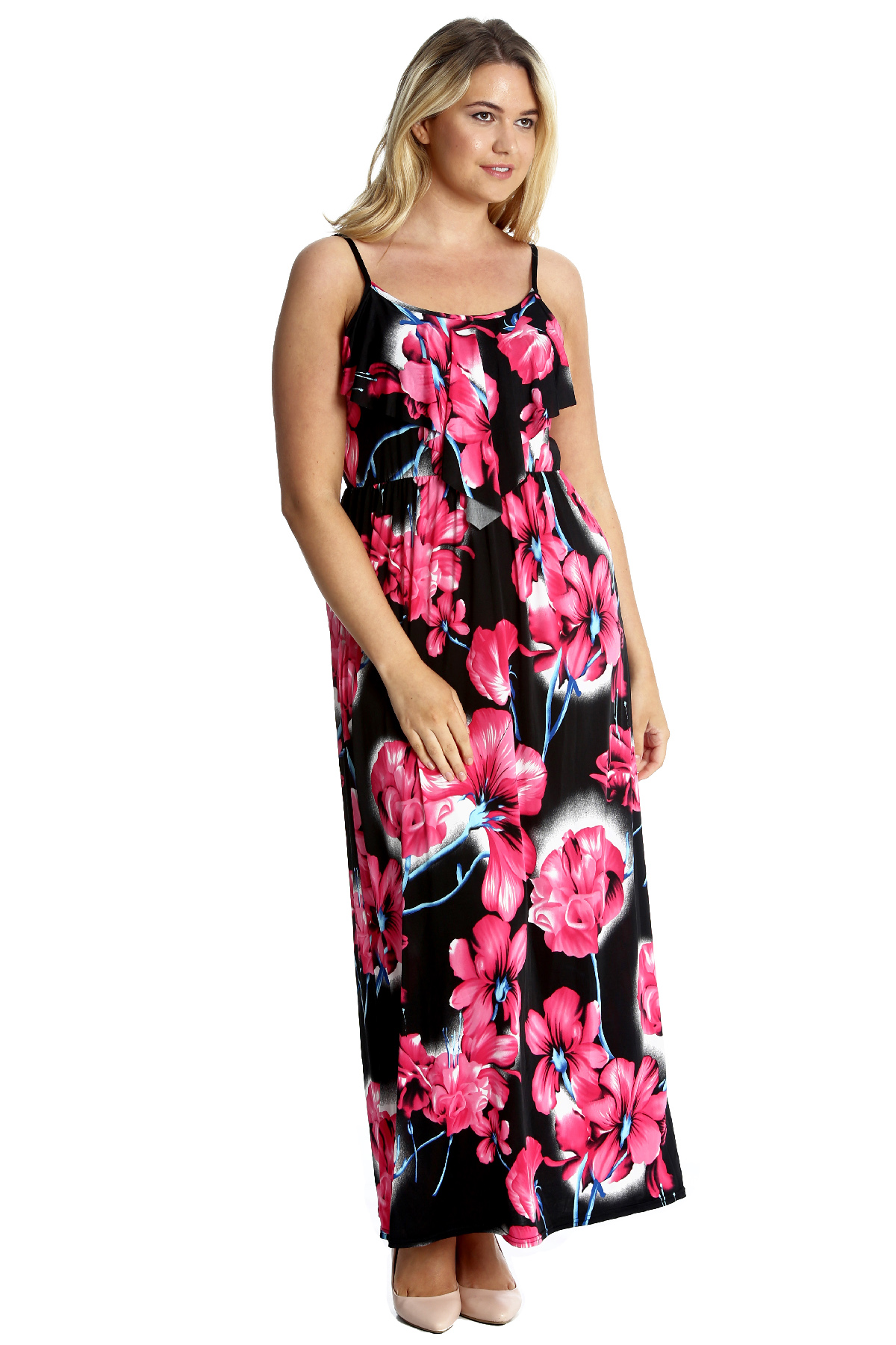 deb0080971 New Ladies Plus Size Maxi Dress Womens Tank Top Style Sleeveless ...