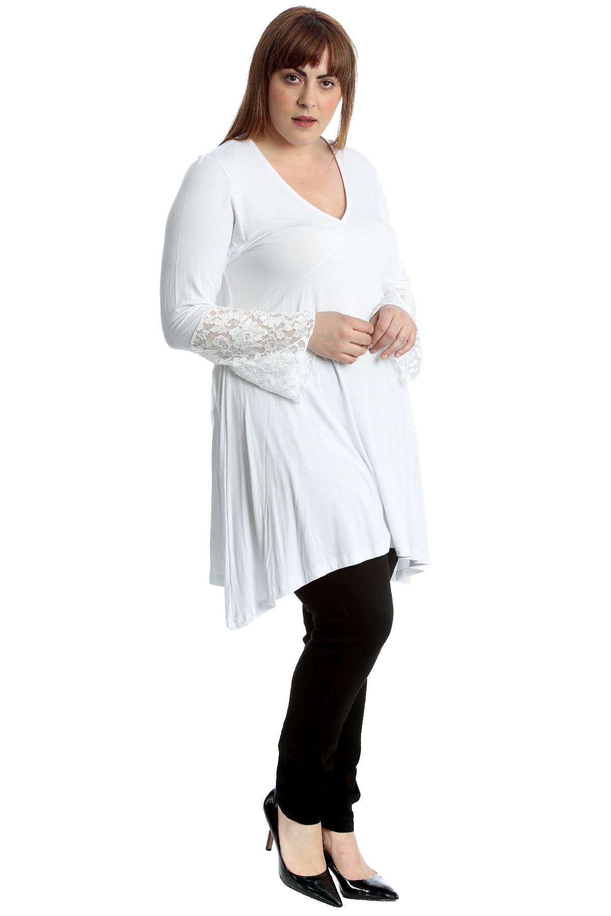 Details about New Womens Plus Size Dress Ladies Lace Sleeves Tunic V Neck  A-Line Sale Top Long