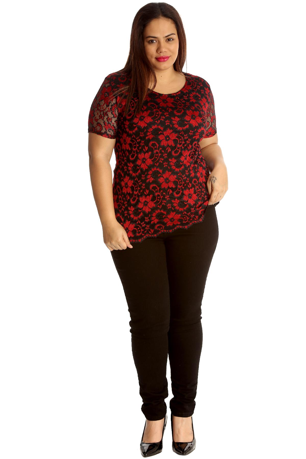 Haut Femmes Taille 46 48 50 52 54 grande taille tunique Blouses Shirt Motif Dentelle 92
