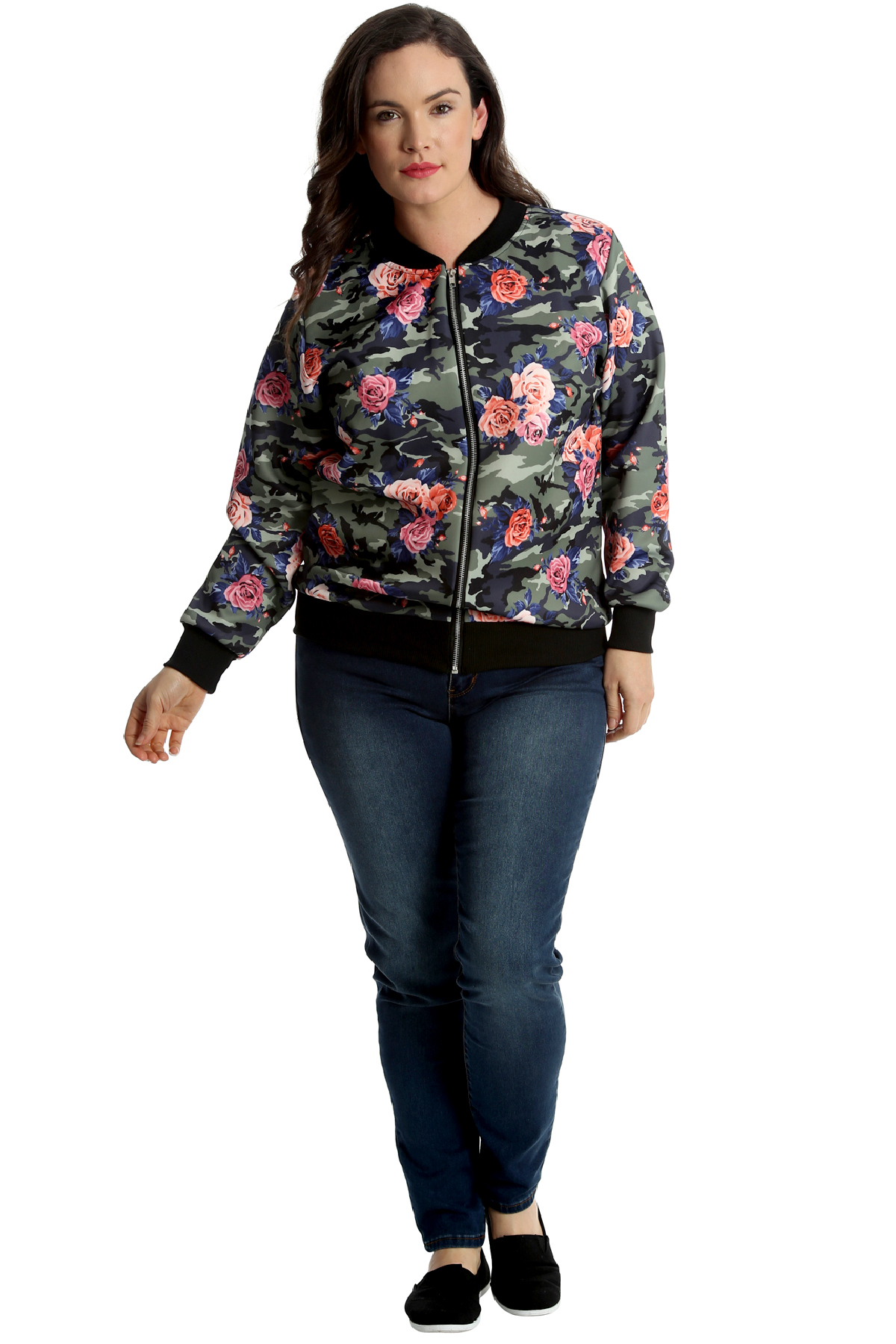 548e2765626 New Womens Plus Size Bomber Jacket Ladies Camouflage Floral Print ...