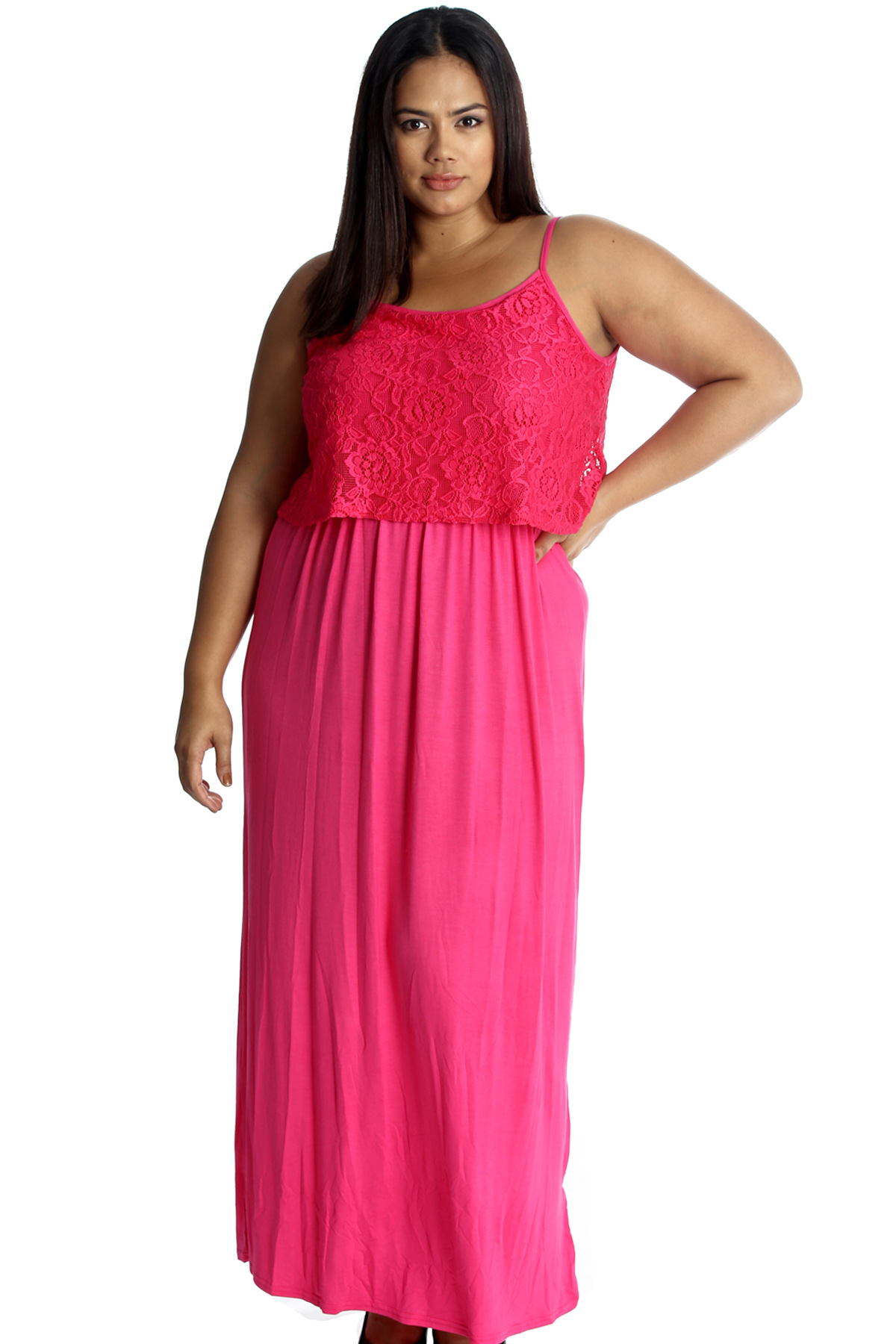New Womens Maxi Dress Plus Size Ladies Floral Lace Full