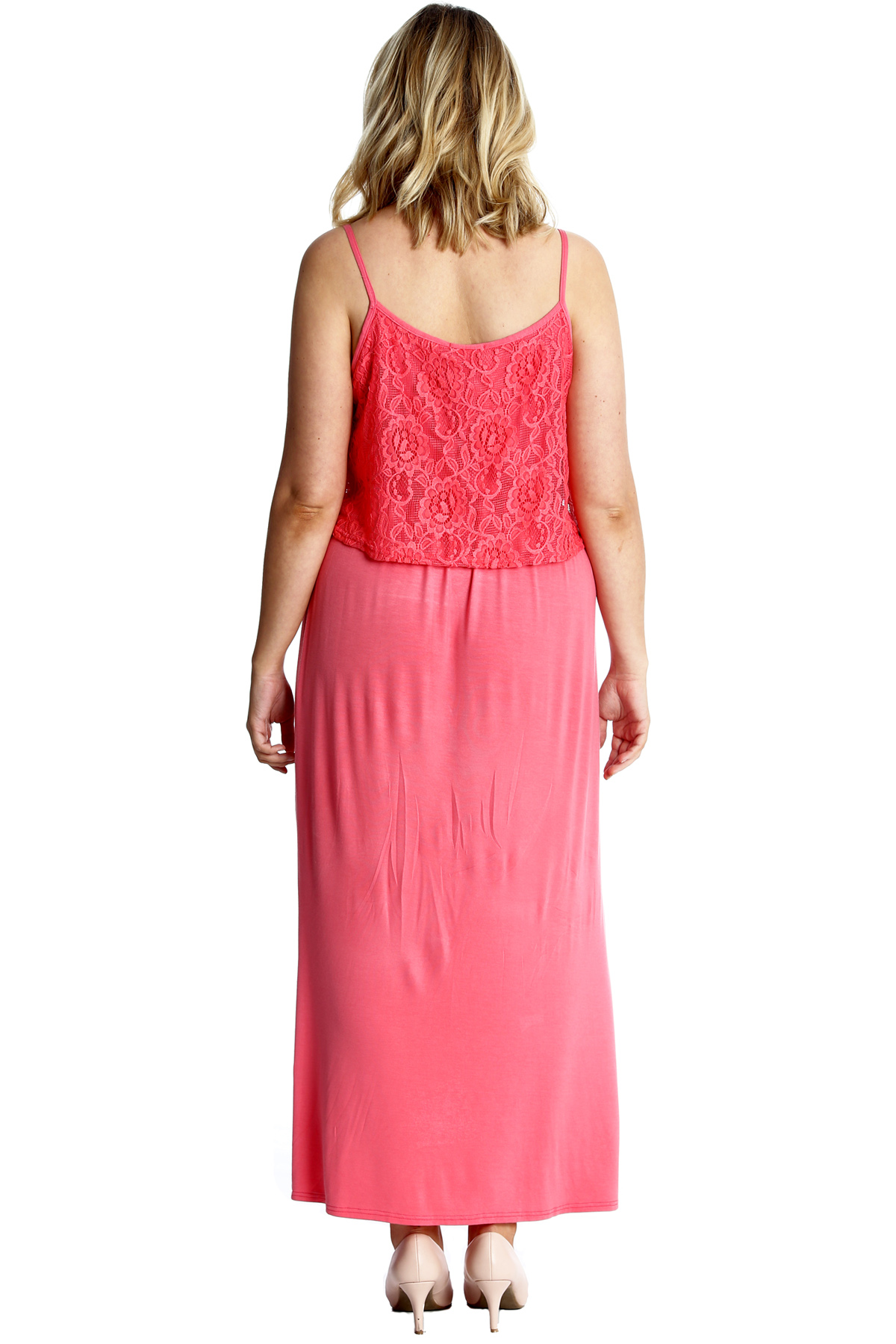 New Womens Maxi Dress Plus Size Ladies Floral Lace Full Length Sleeveless Summer Ebay