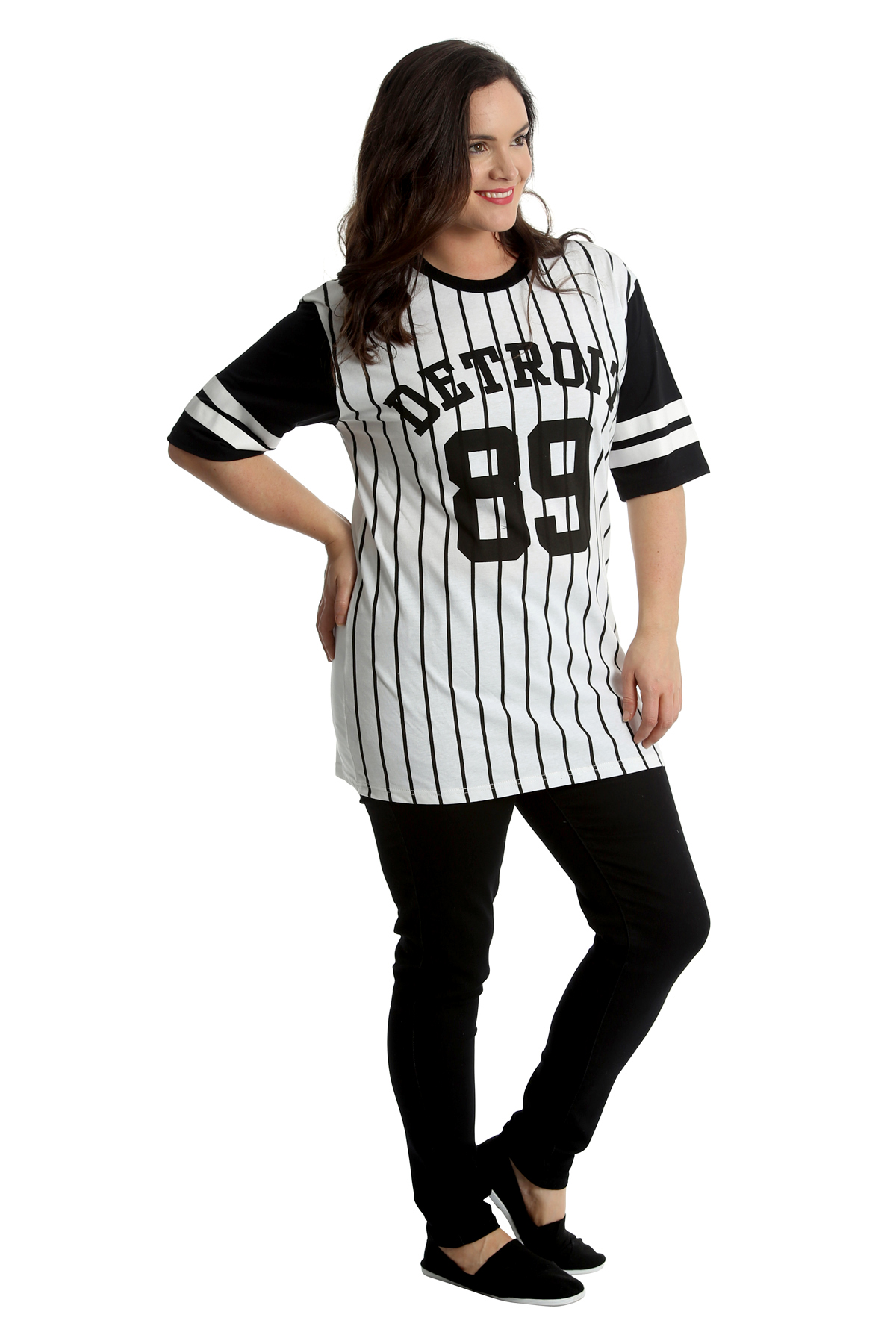 Neu Damen Übergröße T-Shirt Frau Uni Baseball Hemd Detroit 89 Top Sale Nouvelle