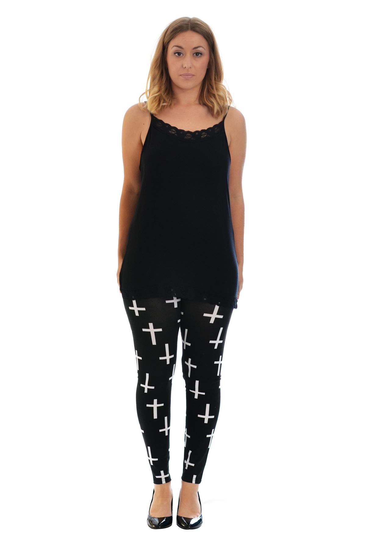 Womens Leggings Ladies Plus Size Cross Print Full Length Trouser Gothic Nouvelle