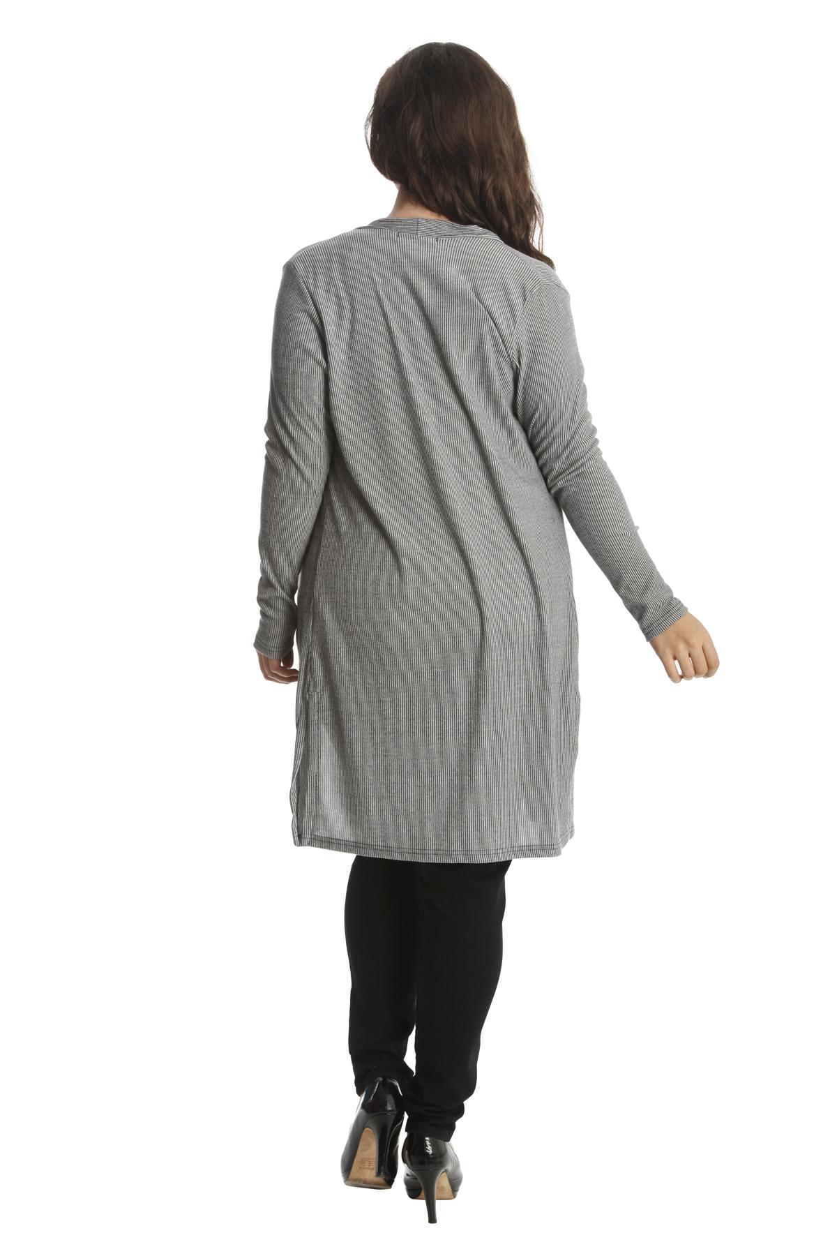 Femmes-Cardigan-Ouvrir-De-face-Ribbed-Haut-Fente-Coton-Grande-taille-Nouvelle