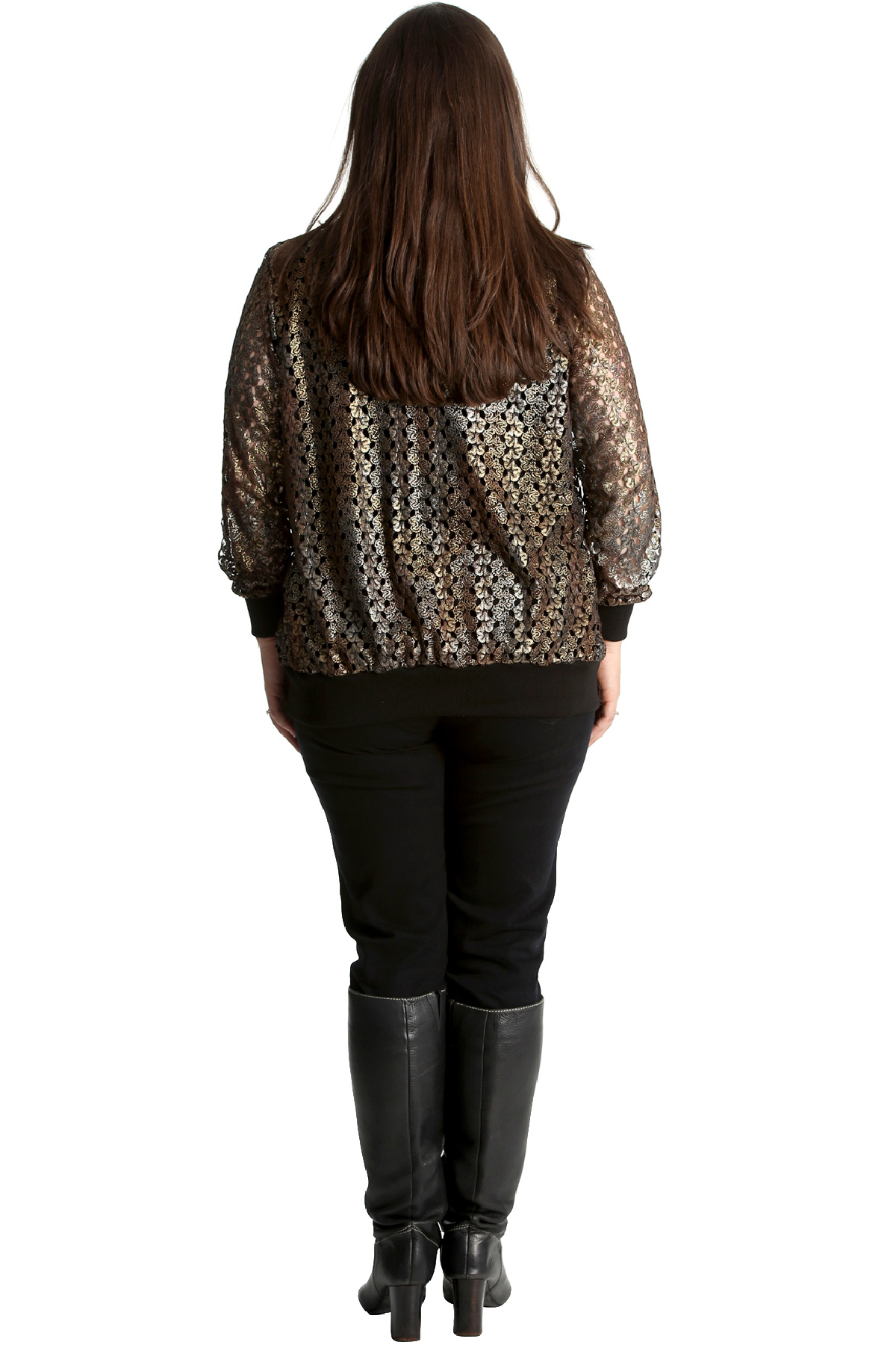 New Womens Bomber Jacket Plus Size Ladies Crochet Lace Ribbed Cuffed Shine Party