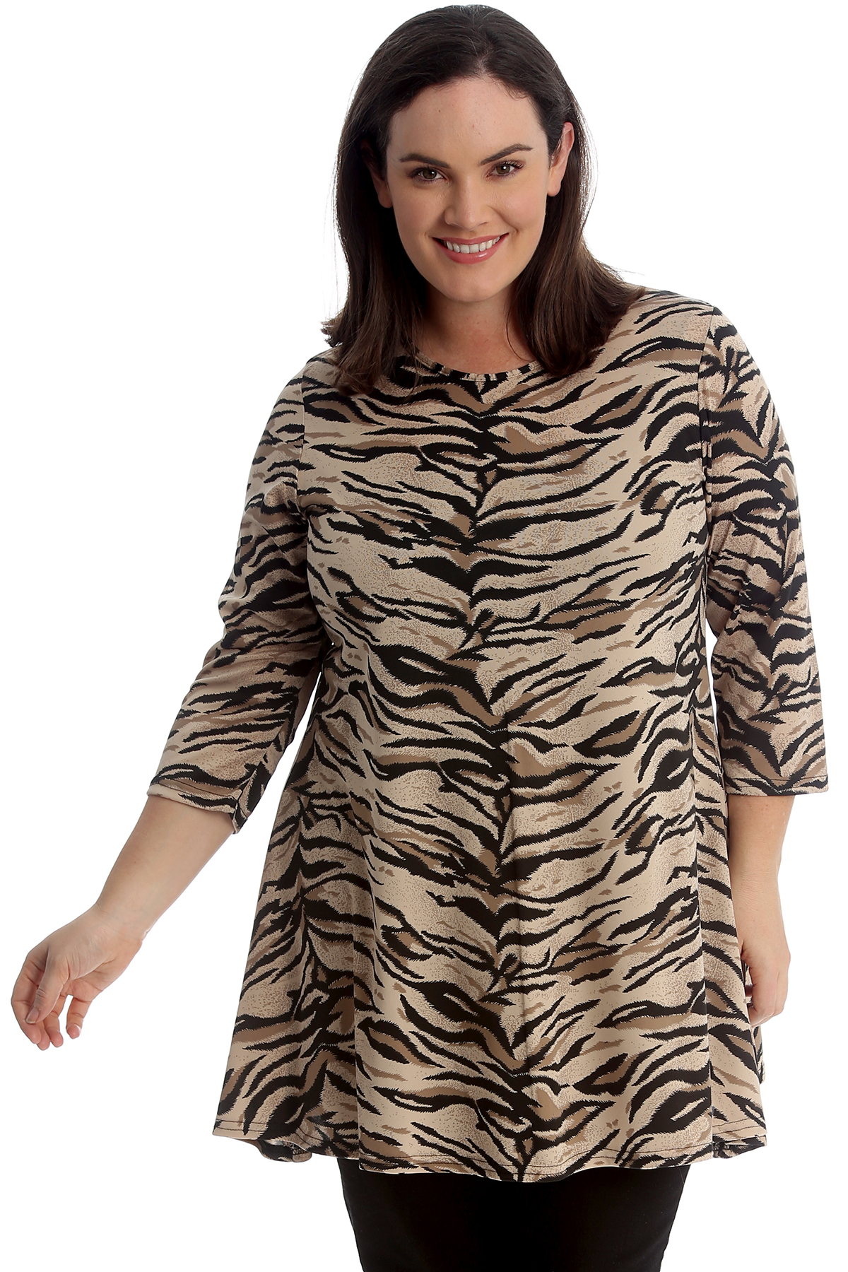 Details about New Women Plus Size Swing Top Ladies Tiger Animal Print Dress  Skater Tunic Style