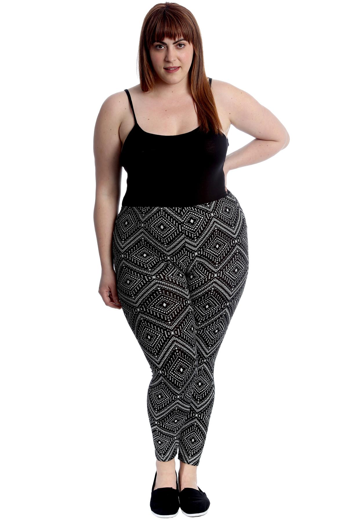 New Womens Plus Size Leggings Ladies Moroccan Tile Print Pants Elasticated Sale