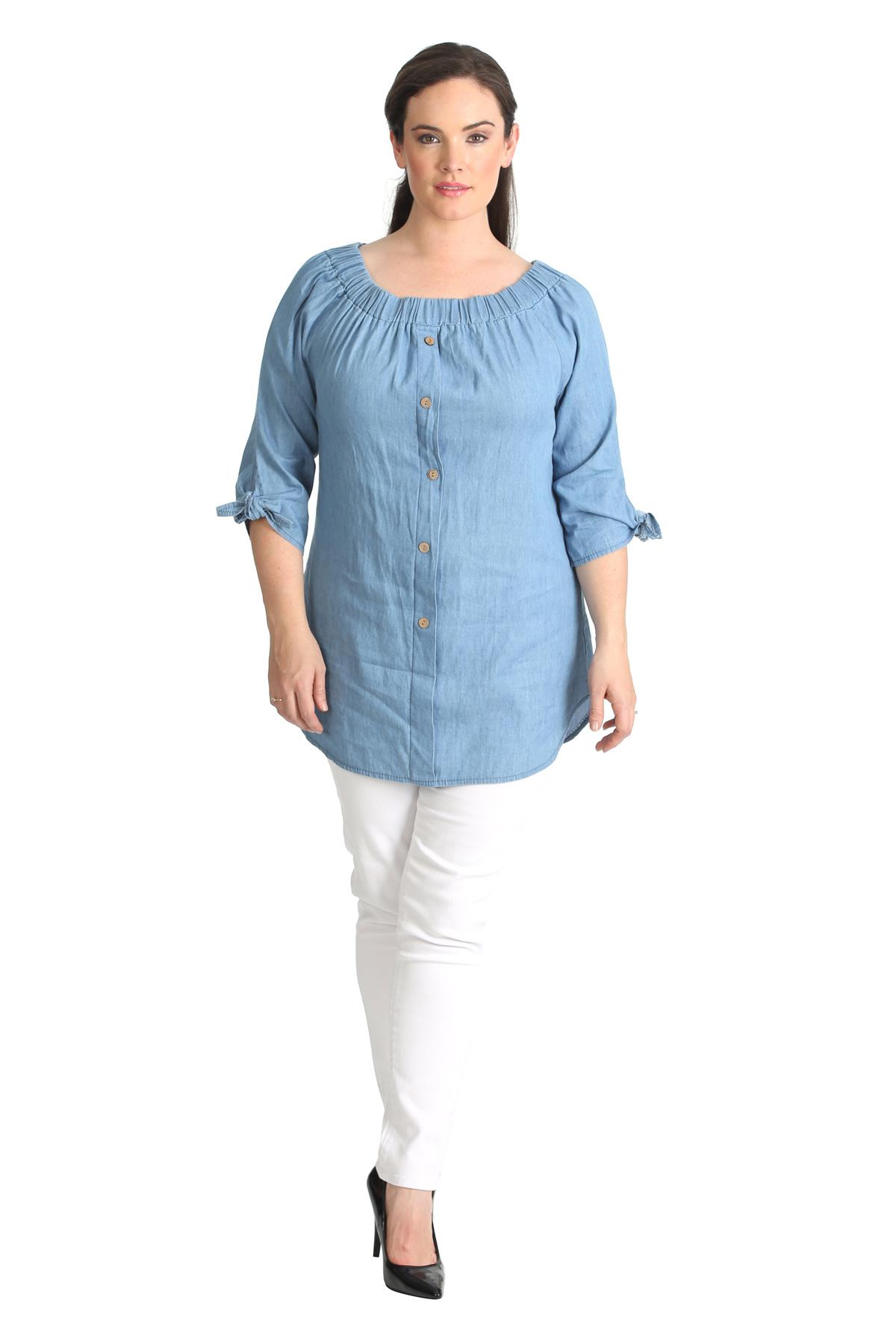 New Ladies Plus Size Top Bardot Button Denim Style Shirt Elastaicated Nouvelle