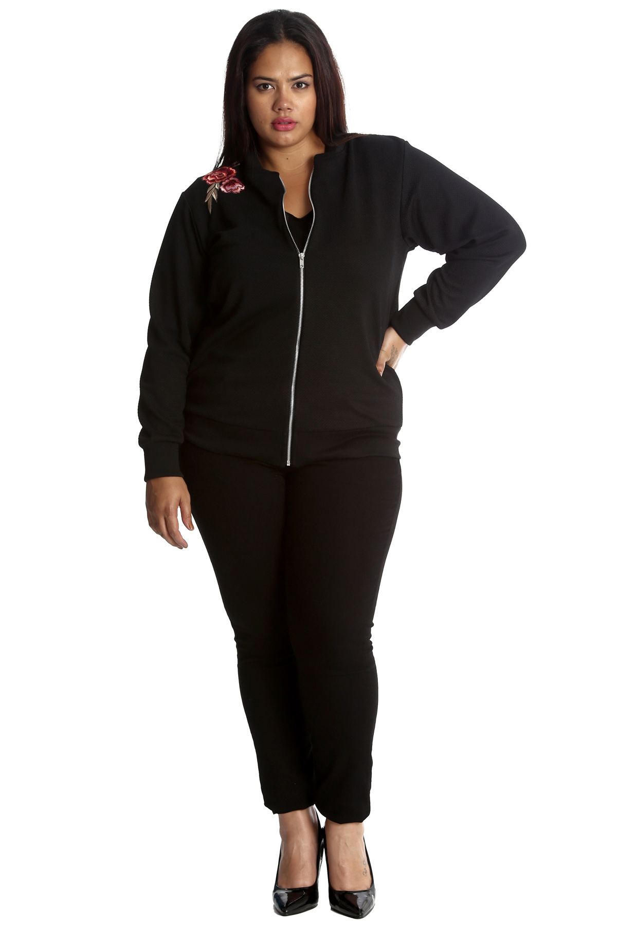 New Womens Plus Size Bomber Jacket Ladies Embroderied ...