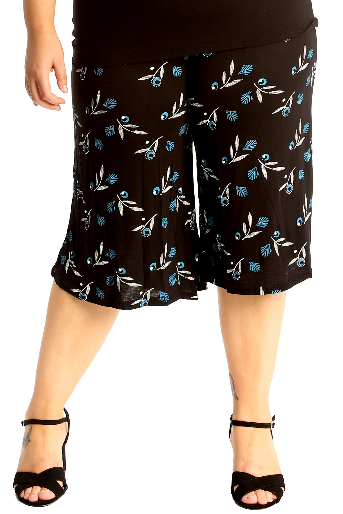 Womens Plus Size Pleated Elasticated Floral Print Culottes//3 Qtr Shorts 8-30
