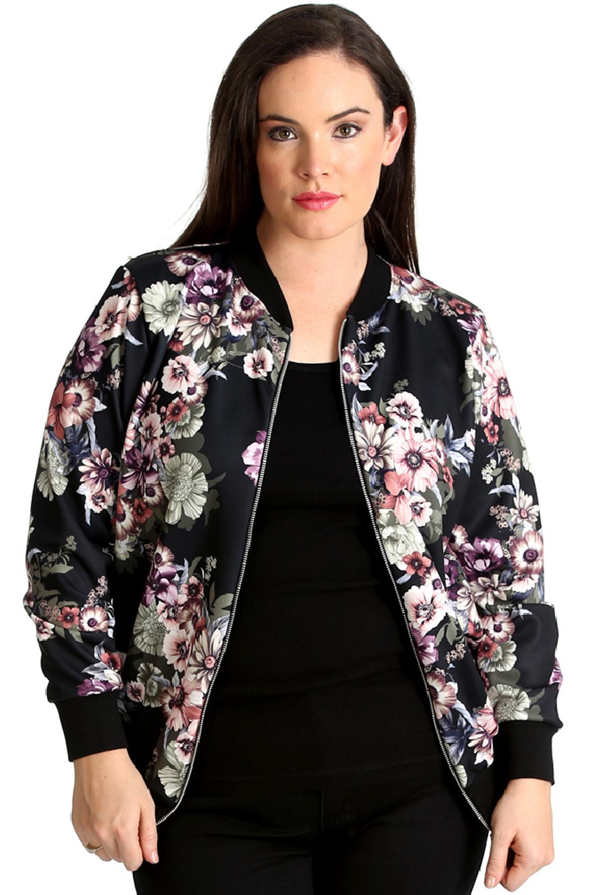 timeless design 6dc12 d7cbe Details zu Neue Frauen Übergröße Bomber Jacke Damen Blumen Druck Dschungel  Stil Qualität