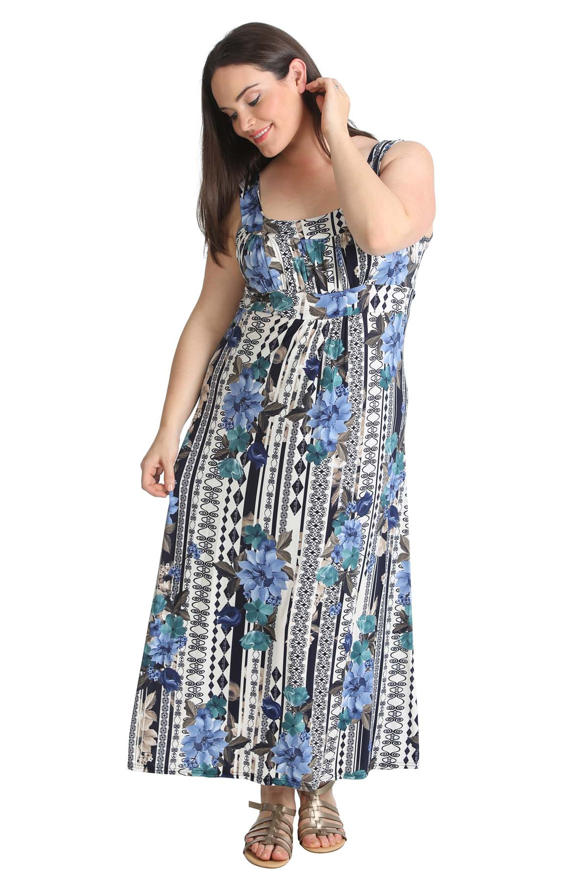 Details about New Ladies Plus Size Maxi Dress Floral Print Womens Sale  Sleeveless Nouvelle